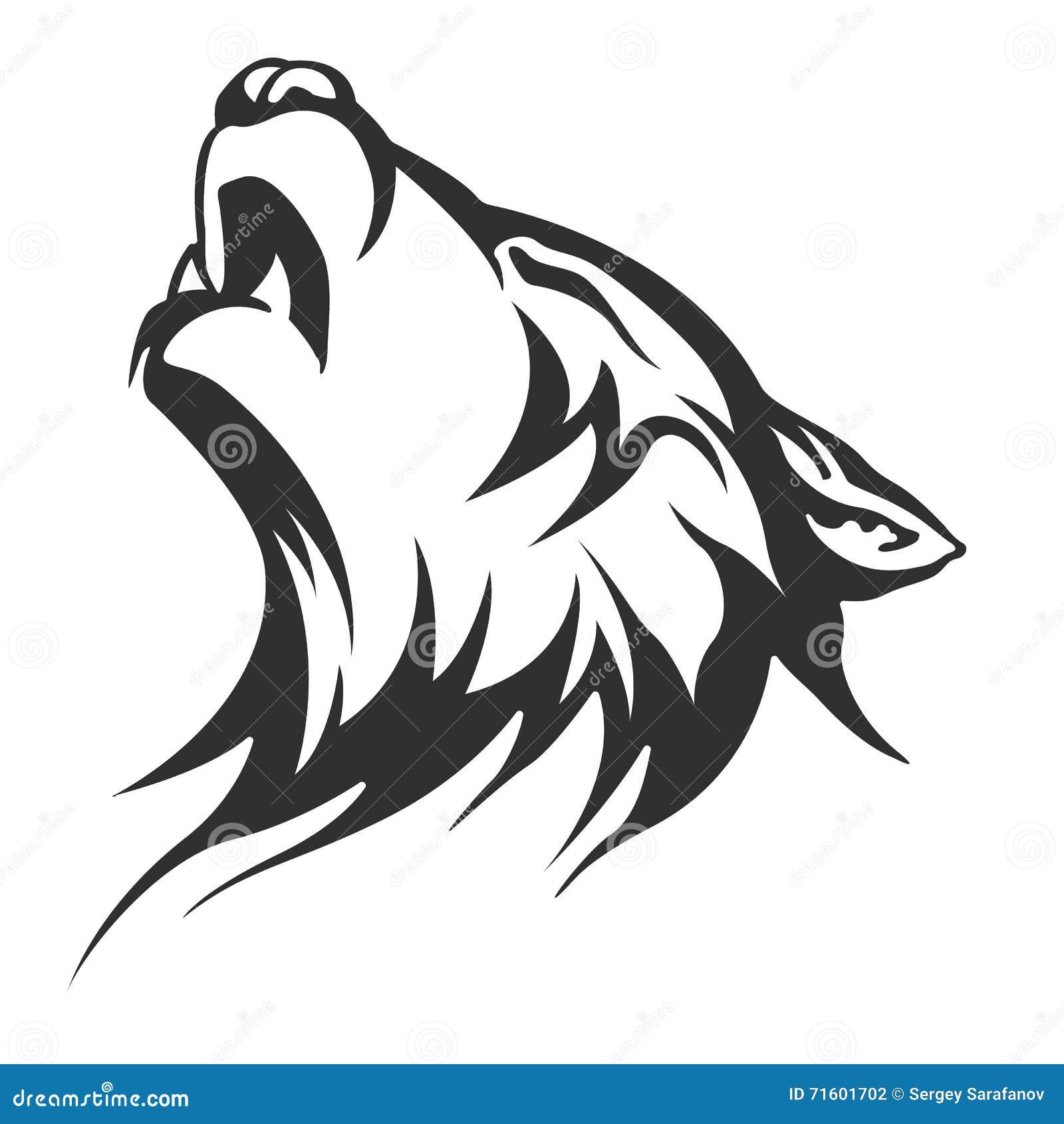Black Wolf Tattoo Illustration Illustration Stock Illustration
