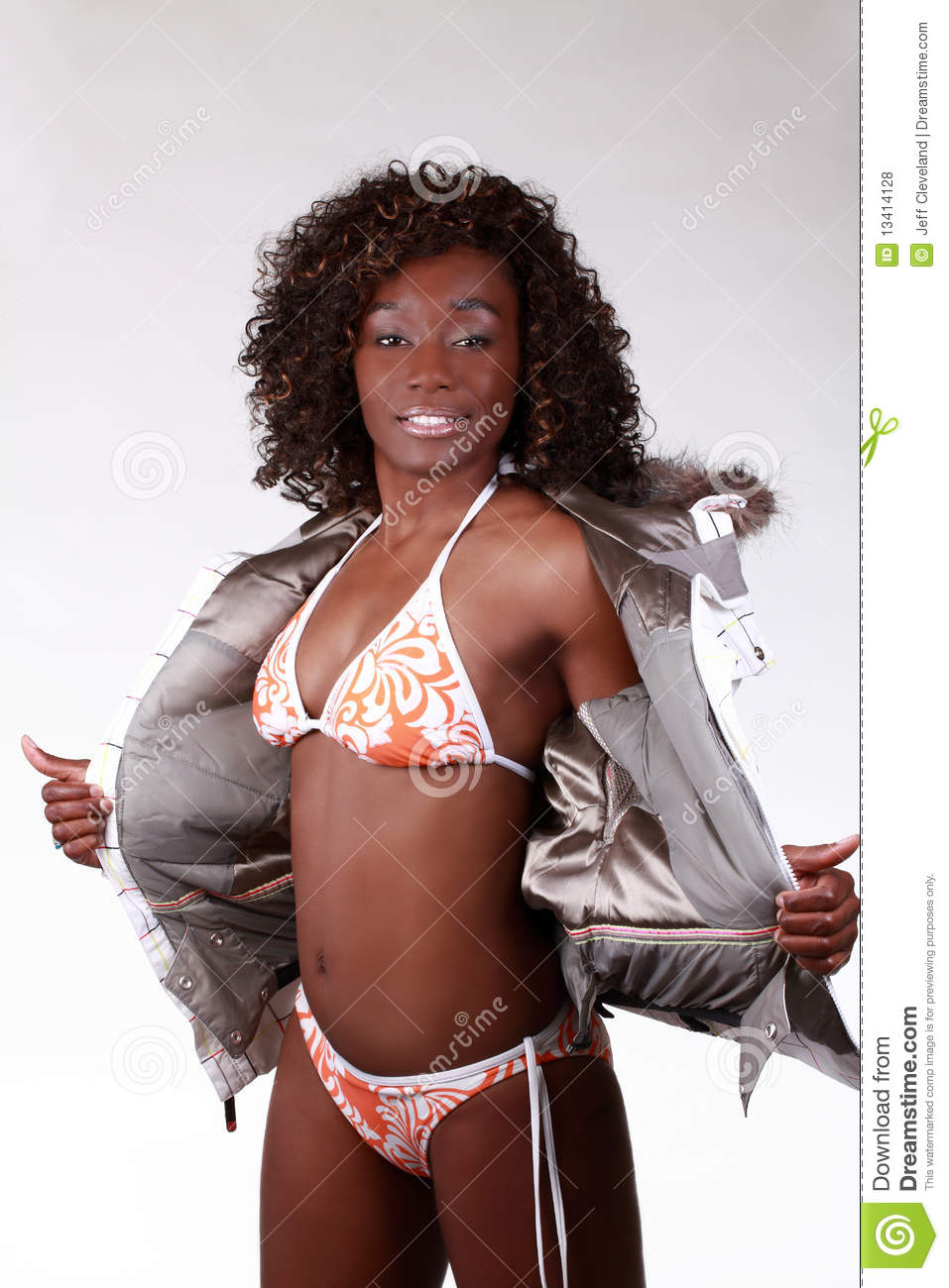 African American Woman in Bikini and Jacket