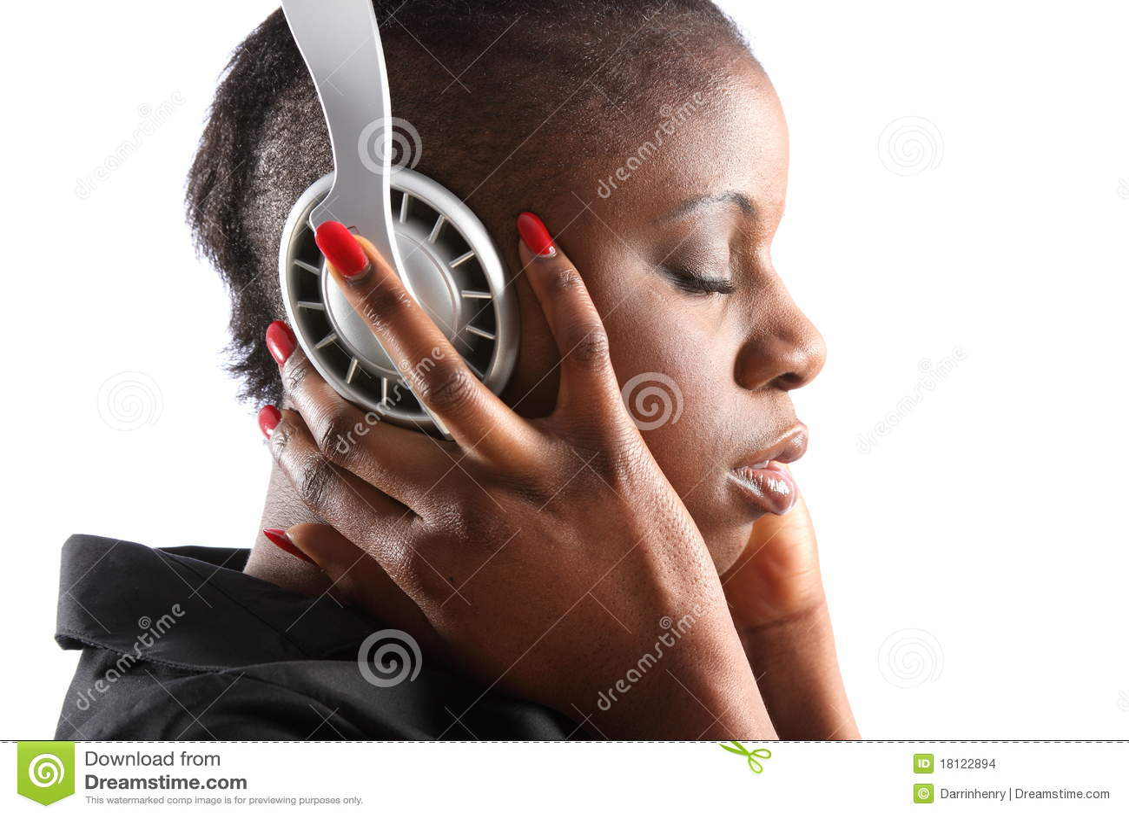 Black Woman Listening To Music On Headphones Stock Photo ...