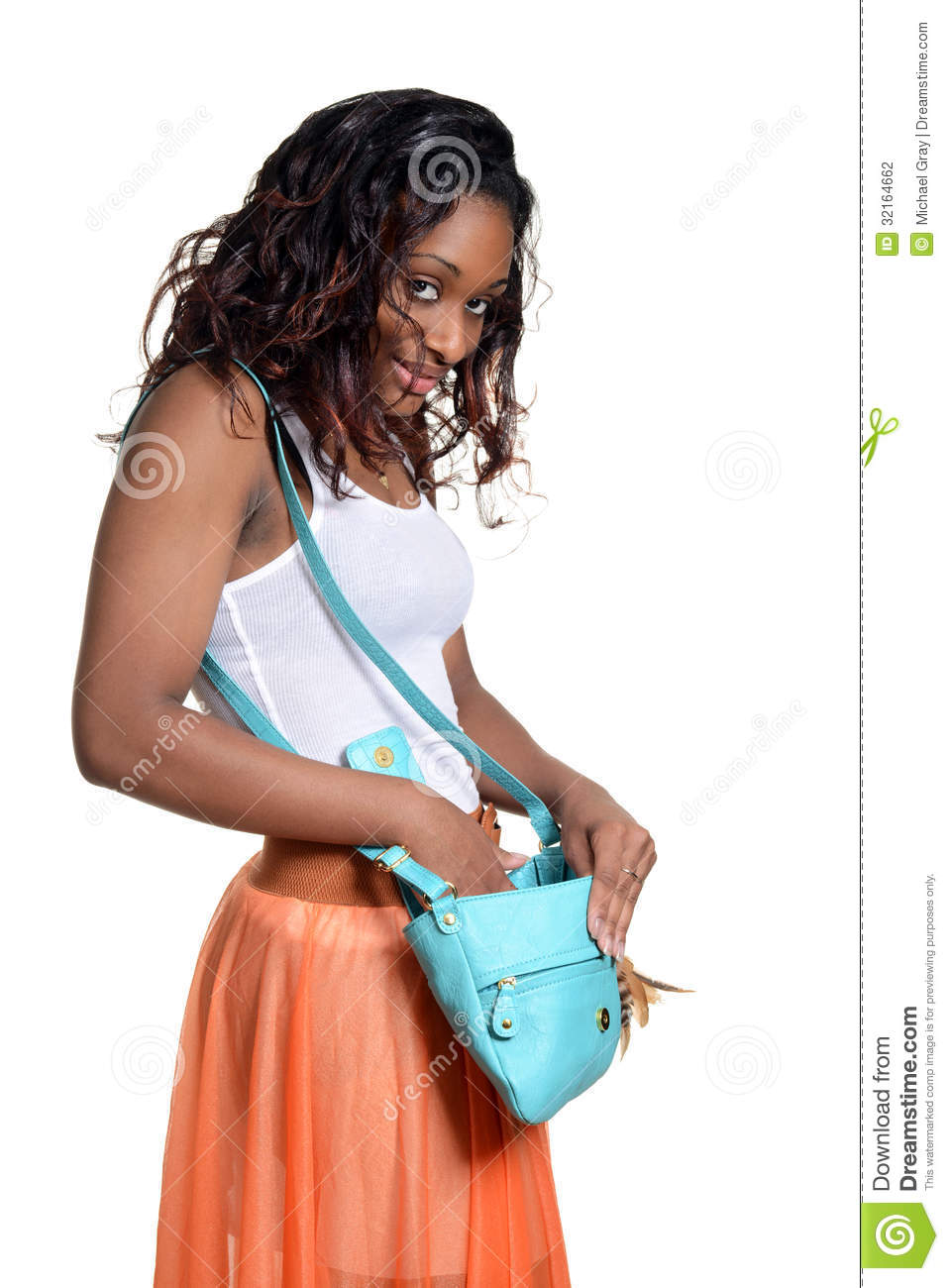 deccf8afe4c Black Woman Looking In Her Purse Stock Photo - Image of looking ...