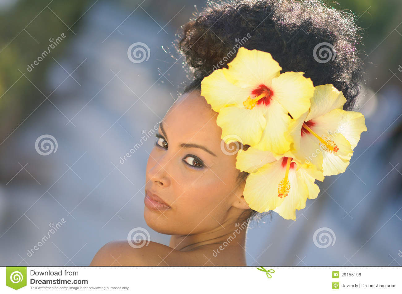 Black Woman Model Of Fashion With Big Flowers In Her