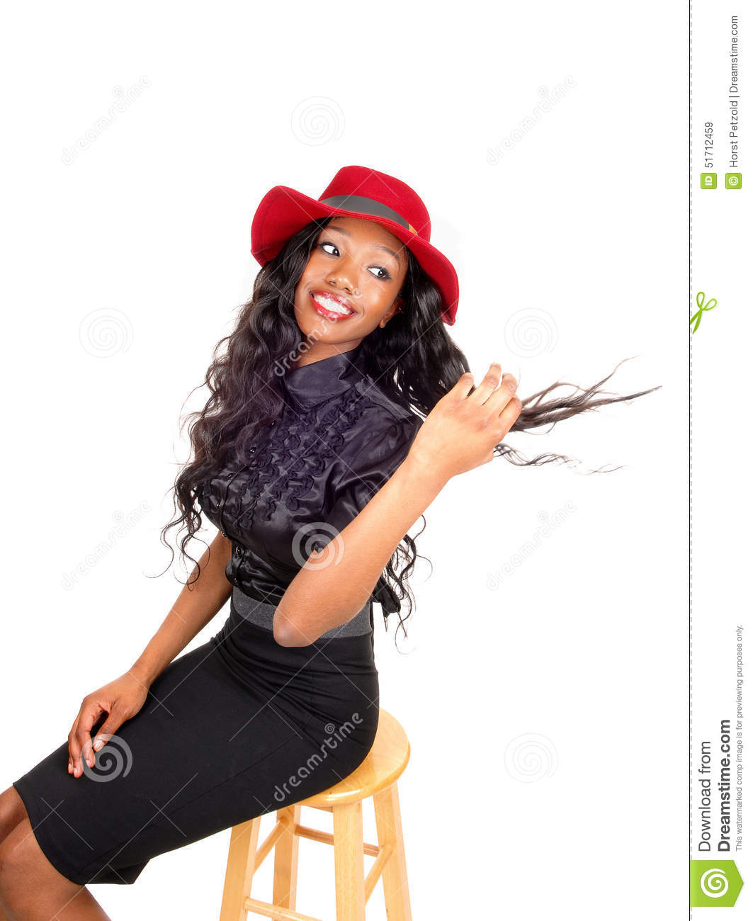 Black child sitting in chair - Black Woman With Red Hat Sitting On Chair