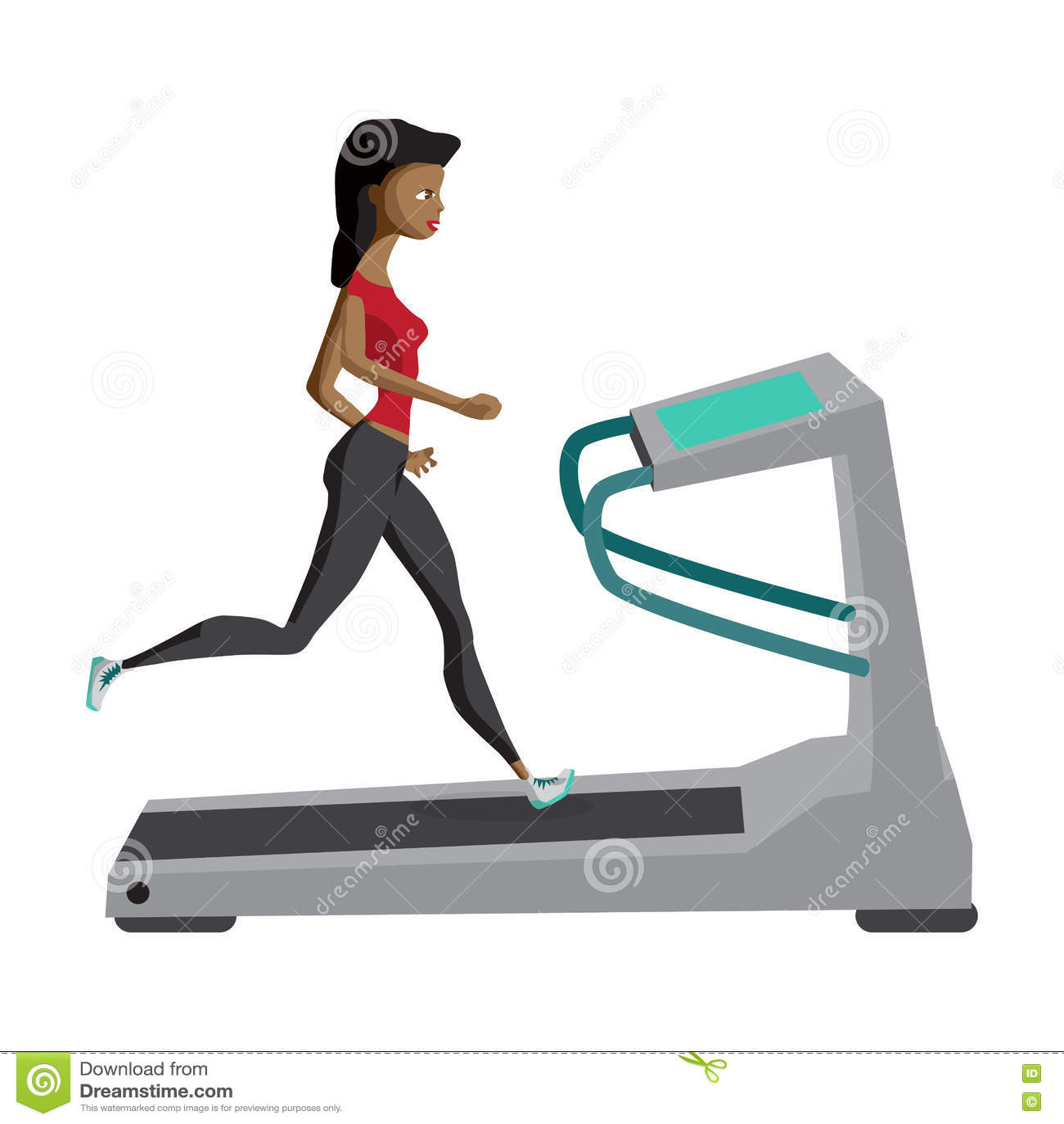 black woman running on treadmill sport fitness