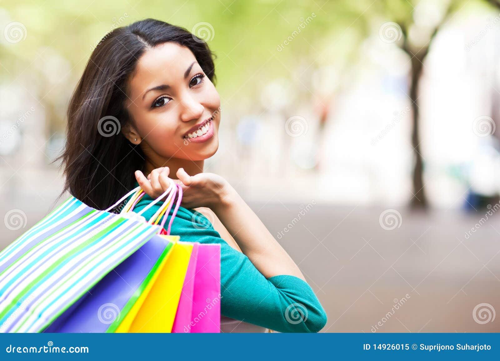 Black Woman Shopping Royalty Free Stock Photo - Image