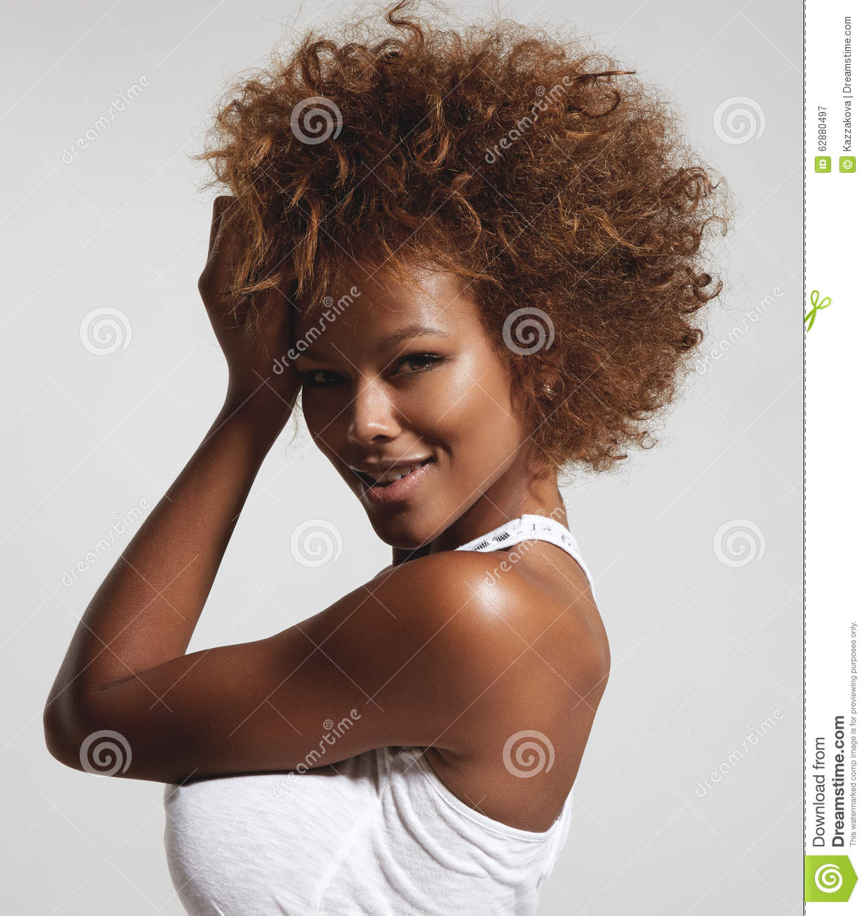 Black Woman With Short Afro Hair Stock Image , Image of