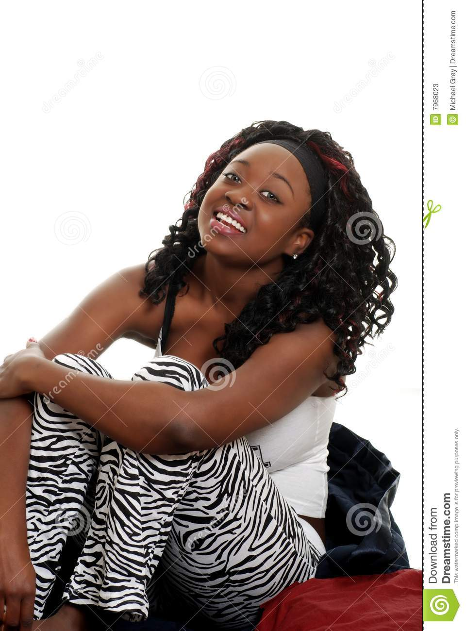 Black Woman Sitting On Bed Laughing Stock Photos Image