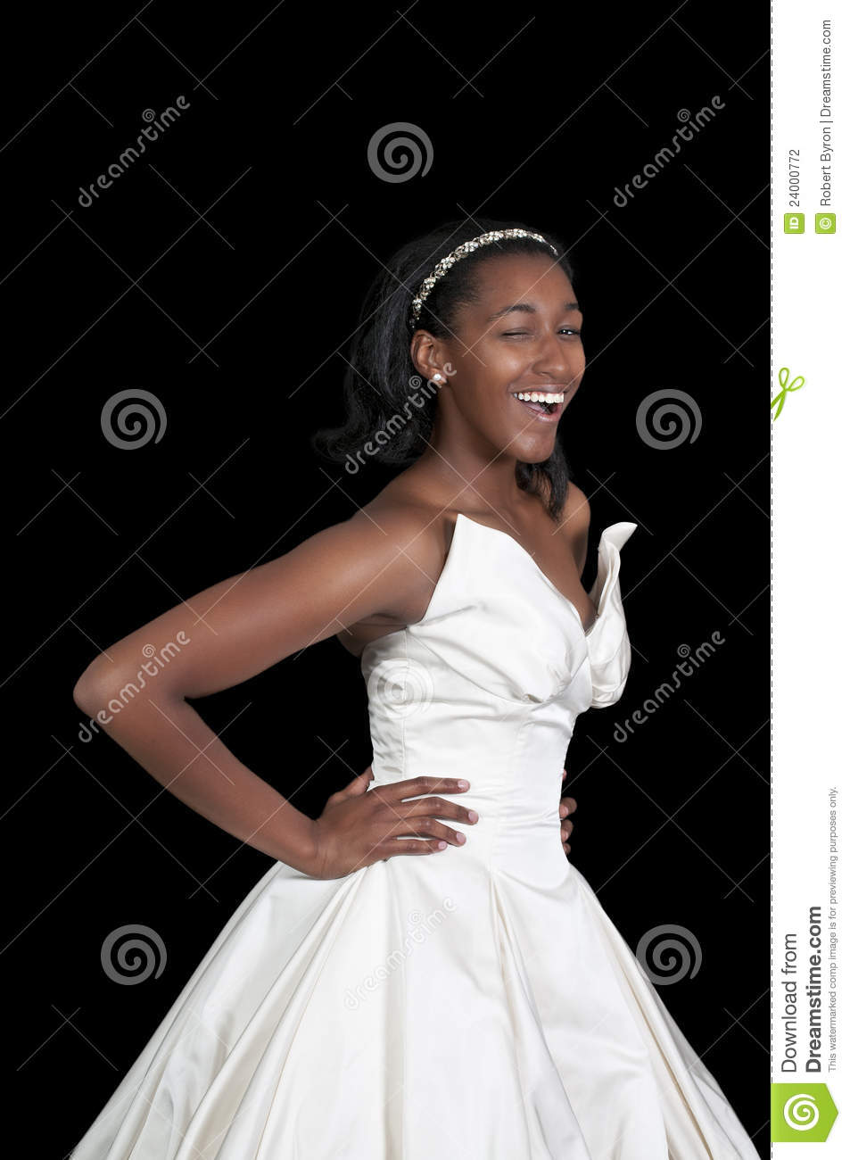 Black African American Woman Bride In A Wedding Dress Winking And