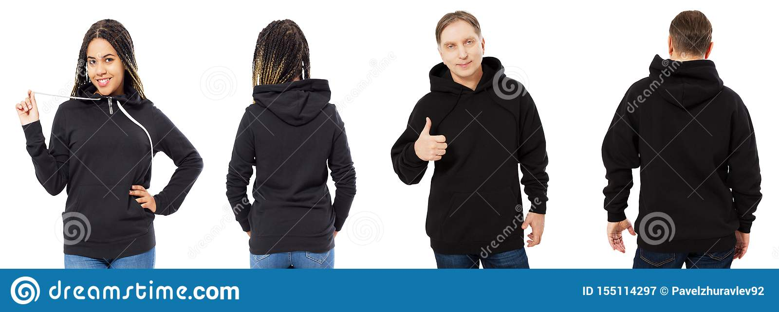 Black woman in hoodie mockup, man in empty hood front and back view isolated over white, hoodie set female and male