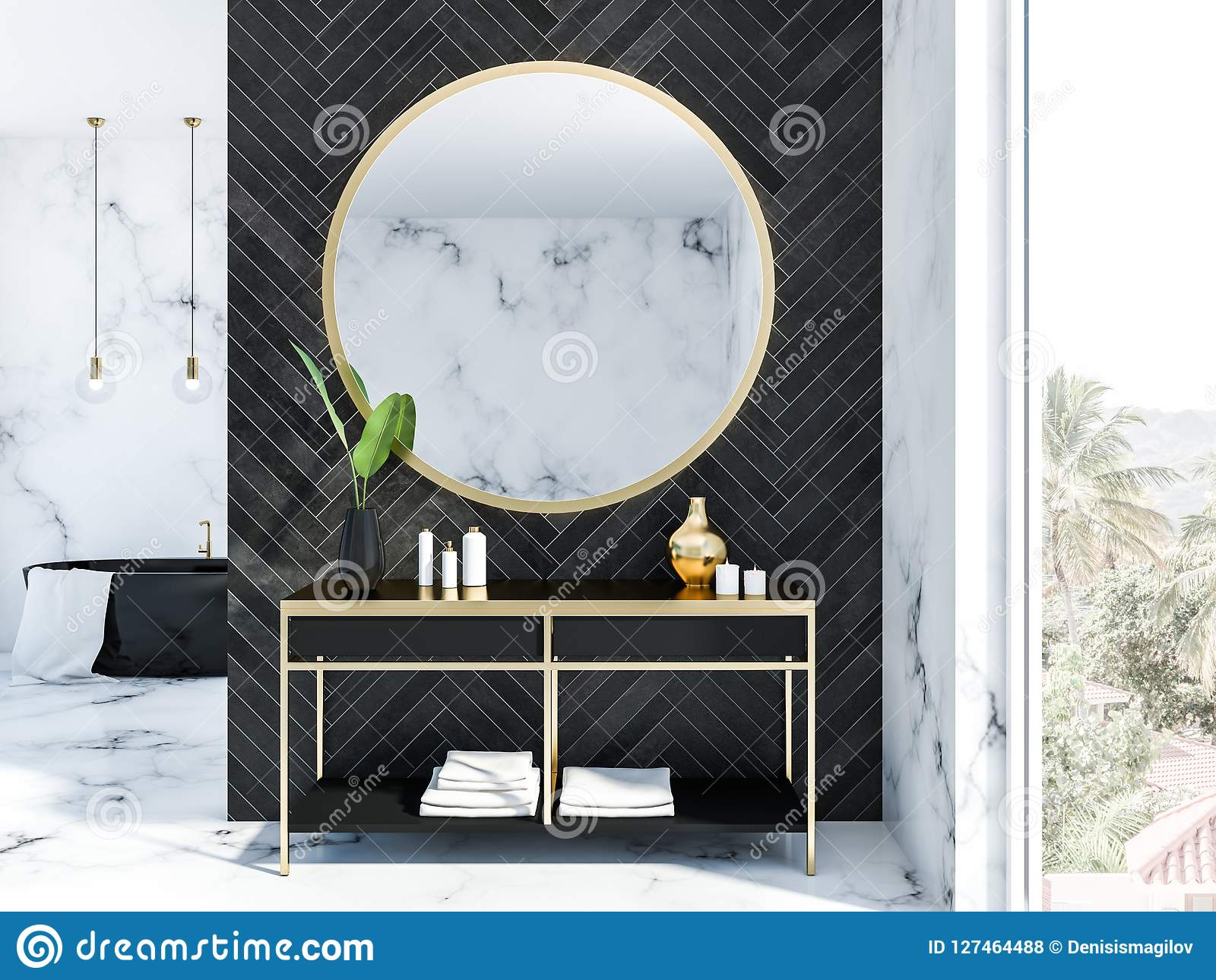 Black Wood Bathroom Interior Black Tub Stock Illustration Illustration Of Modern Basin 127464488