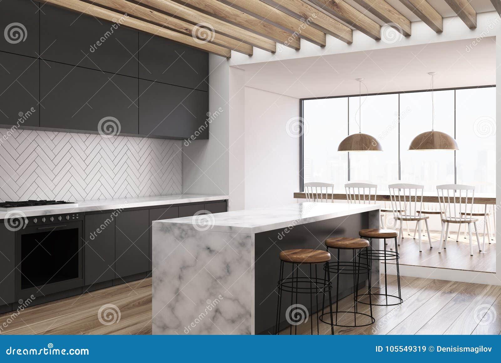 Black Wooden Kitchen Marble Bar Side Stock Illustration
