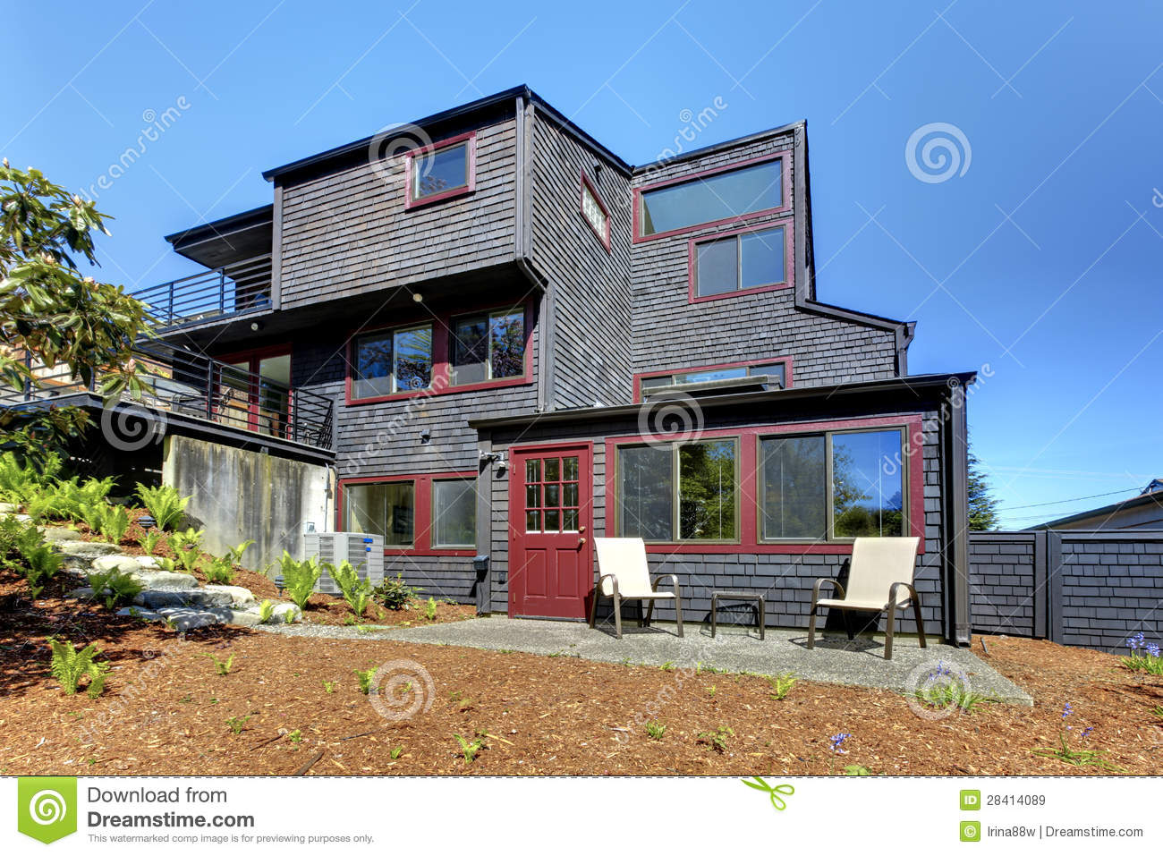 Black Wooden Modern House With Spring Backyard. oyalty Free Stock ... - ^