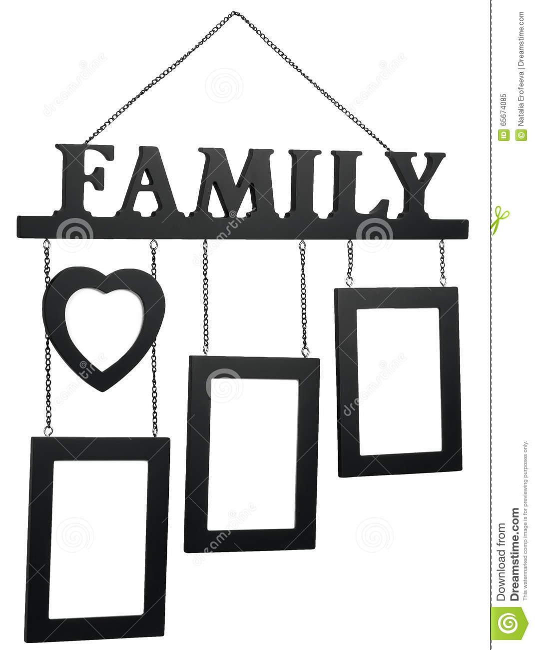 Black Wooden Photo Frame With Text Family Stock Image - Image of ...