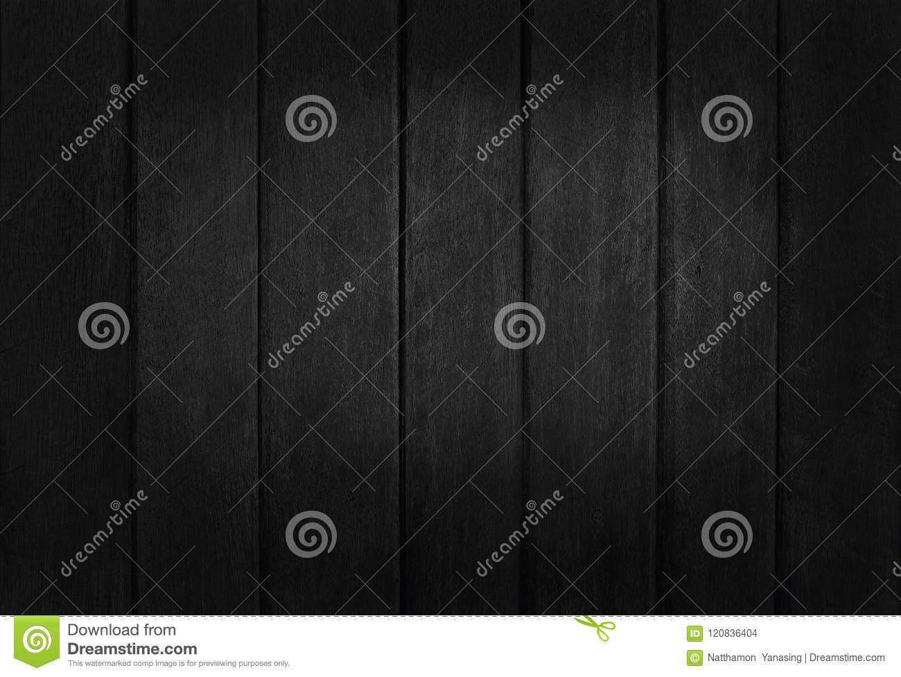 Black wooden wall background, texture of dark bark wood with old natural pattern for design art work, top view of grain timber