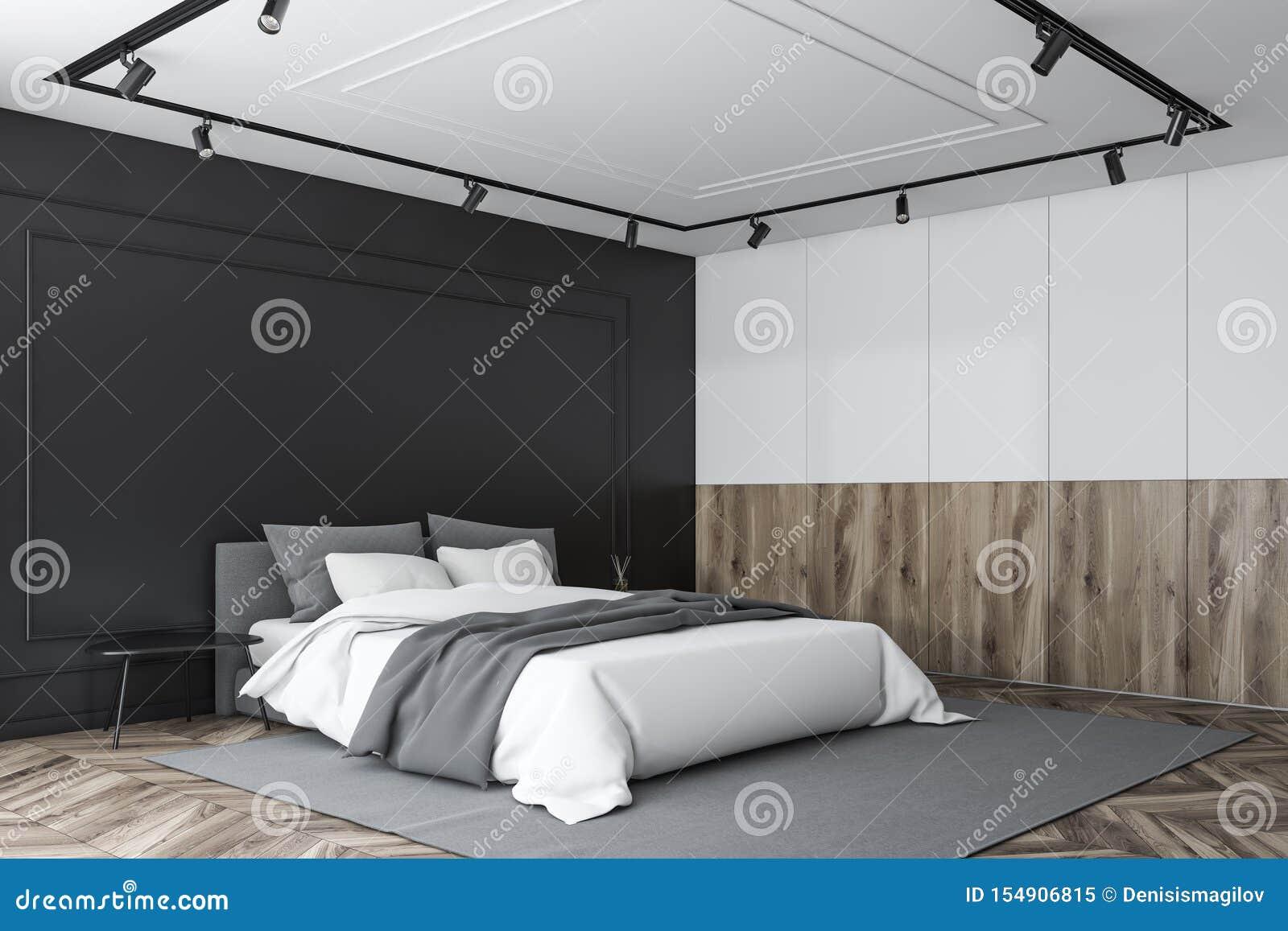 Black Wooden And White Master Bedroom Corner Stock Illustration Illustration Of Mansion Apartment 154906815