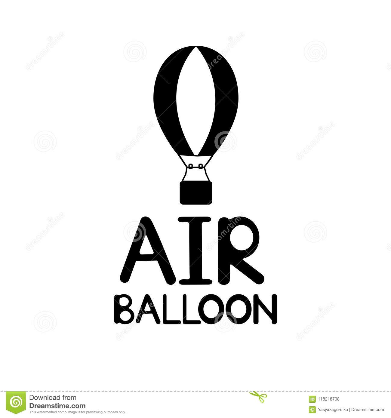 Black word Air Balloon and icon on the white background.