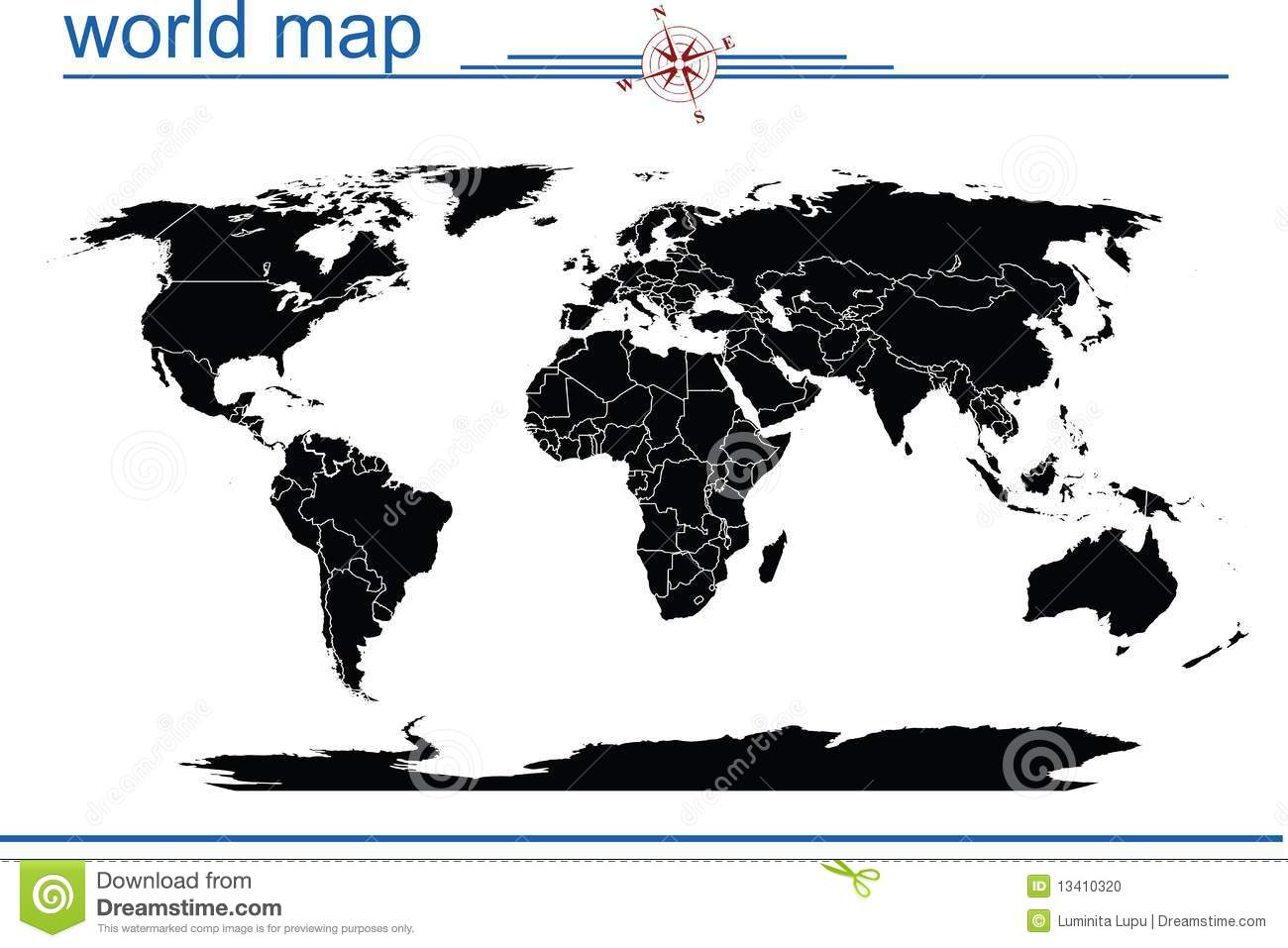 Black world map stock illustration illustration of black 13410320 black world map gumiabroncs Images