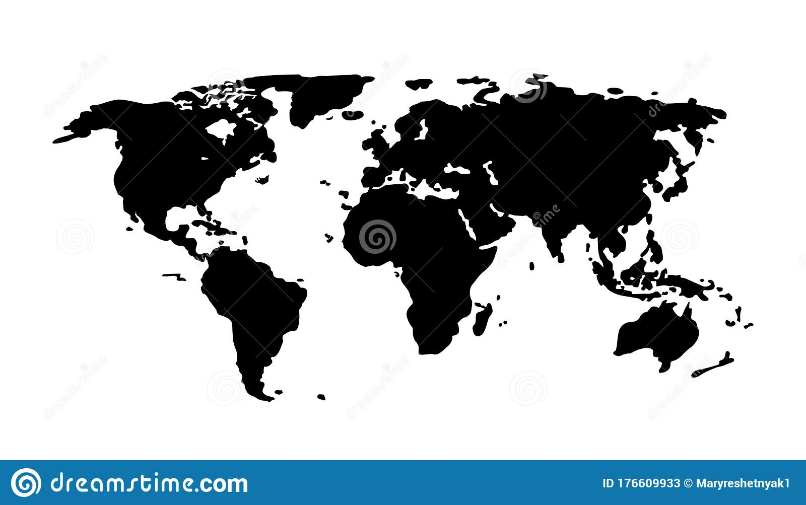 Black World Map On White Background Europe Asia South America North America Australia Africa Silhouette Continent Stock Vector Illustration Of China India 176609933