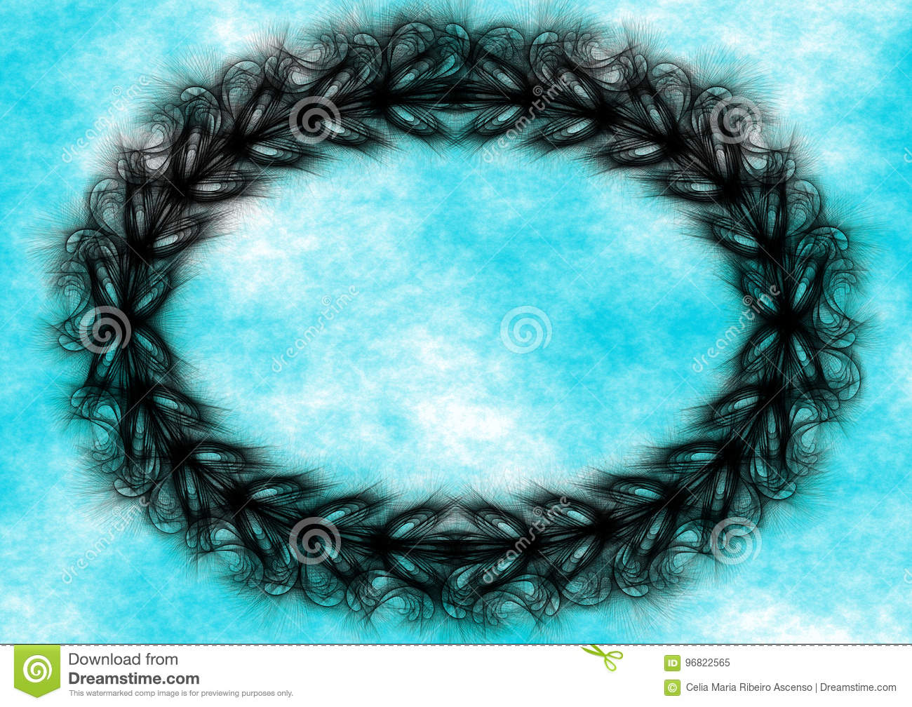 Black wreath border frame blue sky