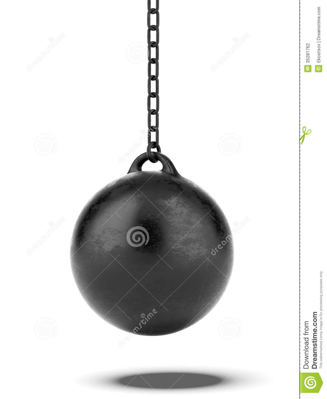 Black Wrecking ball isolated on a white background. 3d render.