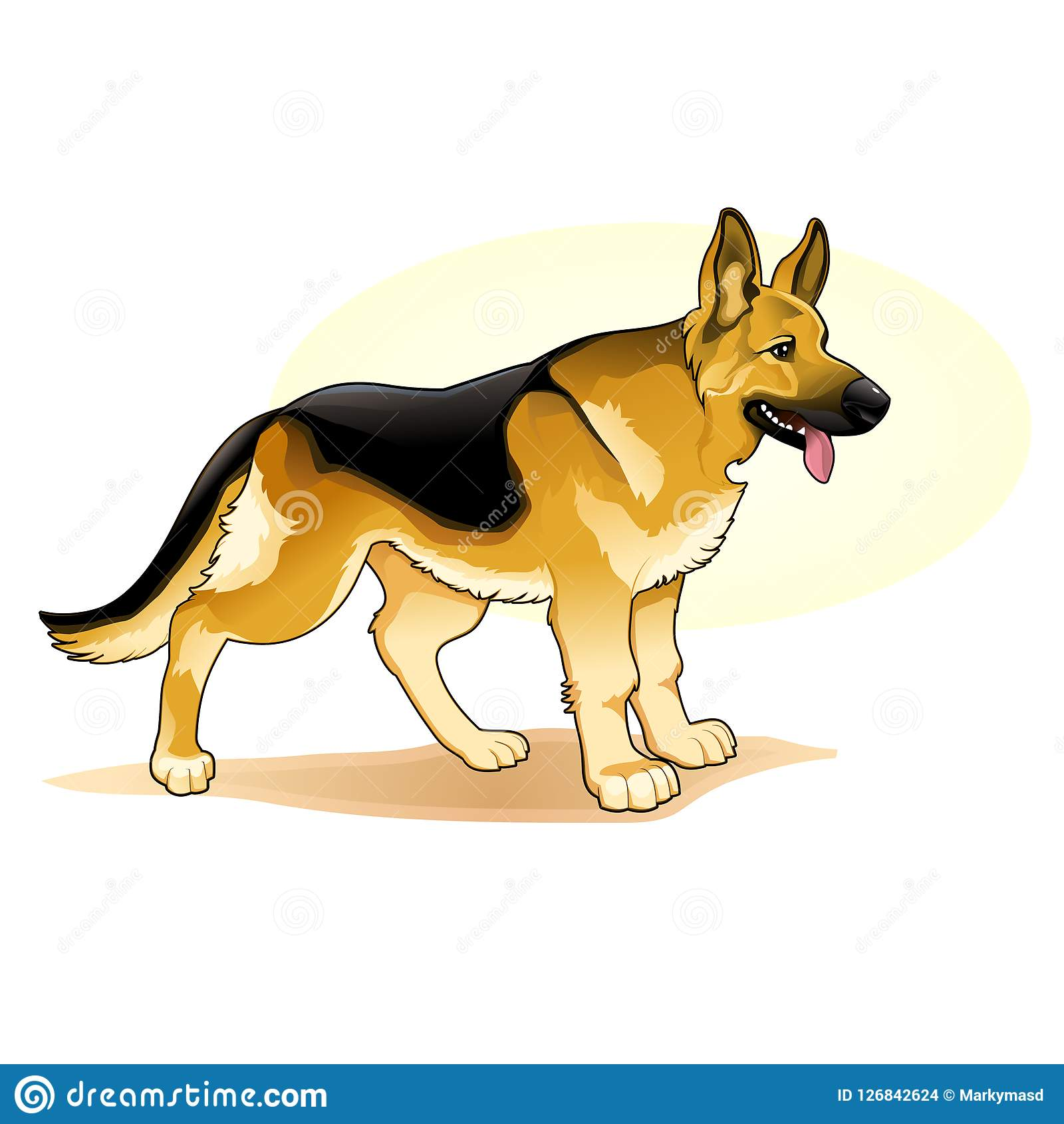 Black And Yellow Coloured Dog Amazing Vector Illustration Cute