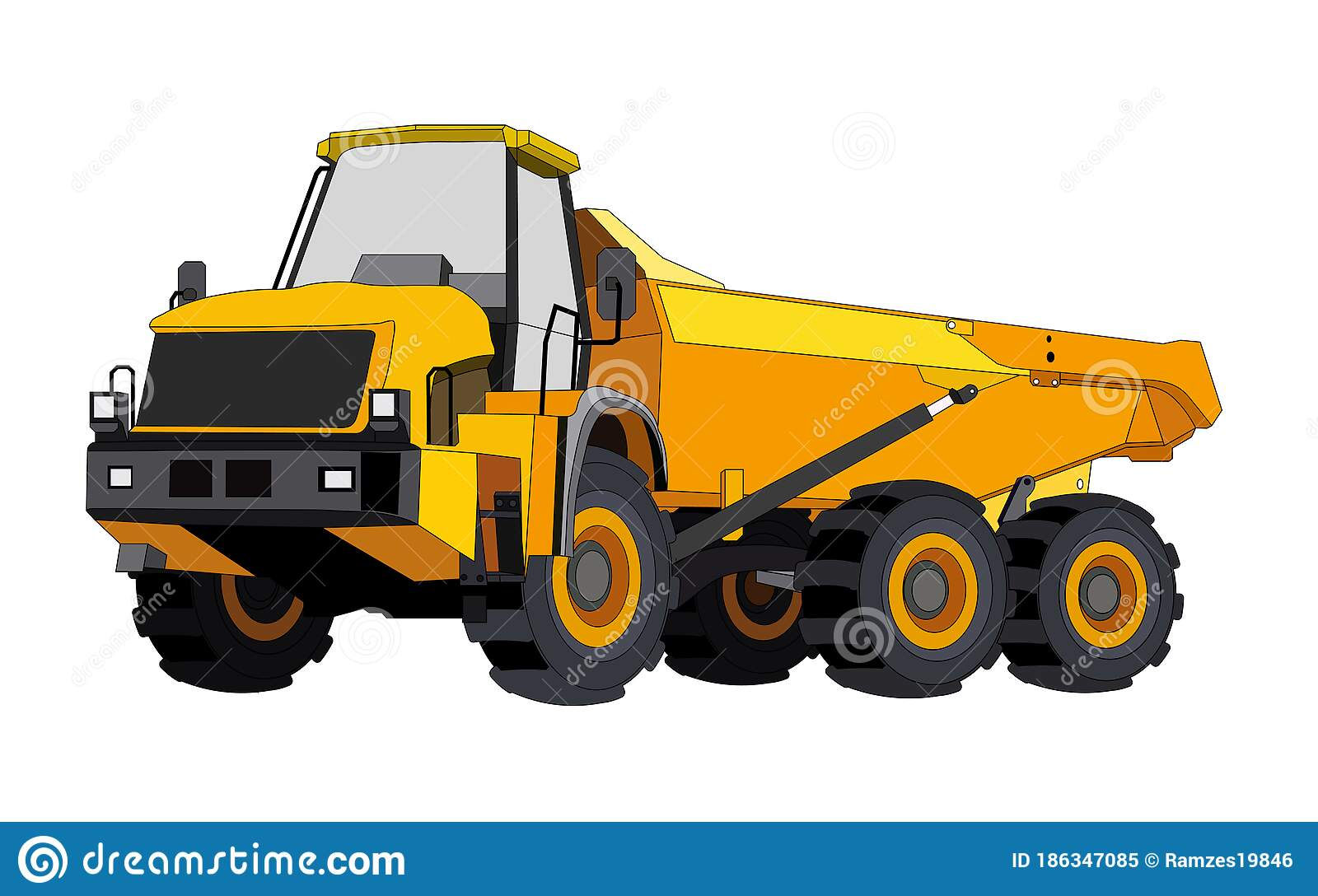 Black And Yellow Construction Dump Truck. Industrial Machinery And Equipment.  Isolated Vector On White Stock Vector - Illustration of contractor,  forklift: 186347085