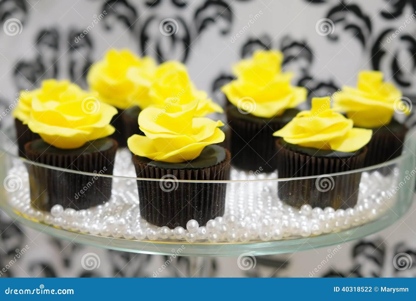 Black And Yellow Cupcakes Stock Photo Image 40318522