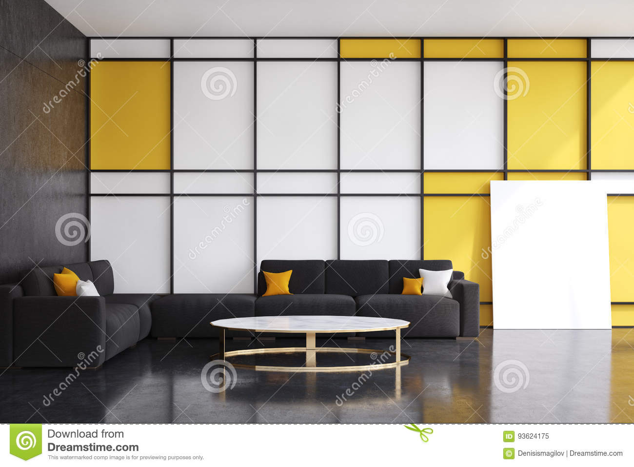 Terrific Black And Yellow Living Room Front View Stock Illustration Squirreltailoven Fun Painted Chair Ideas Images Squirreltailovenorg