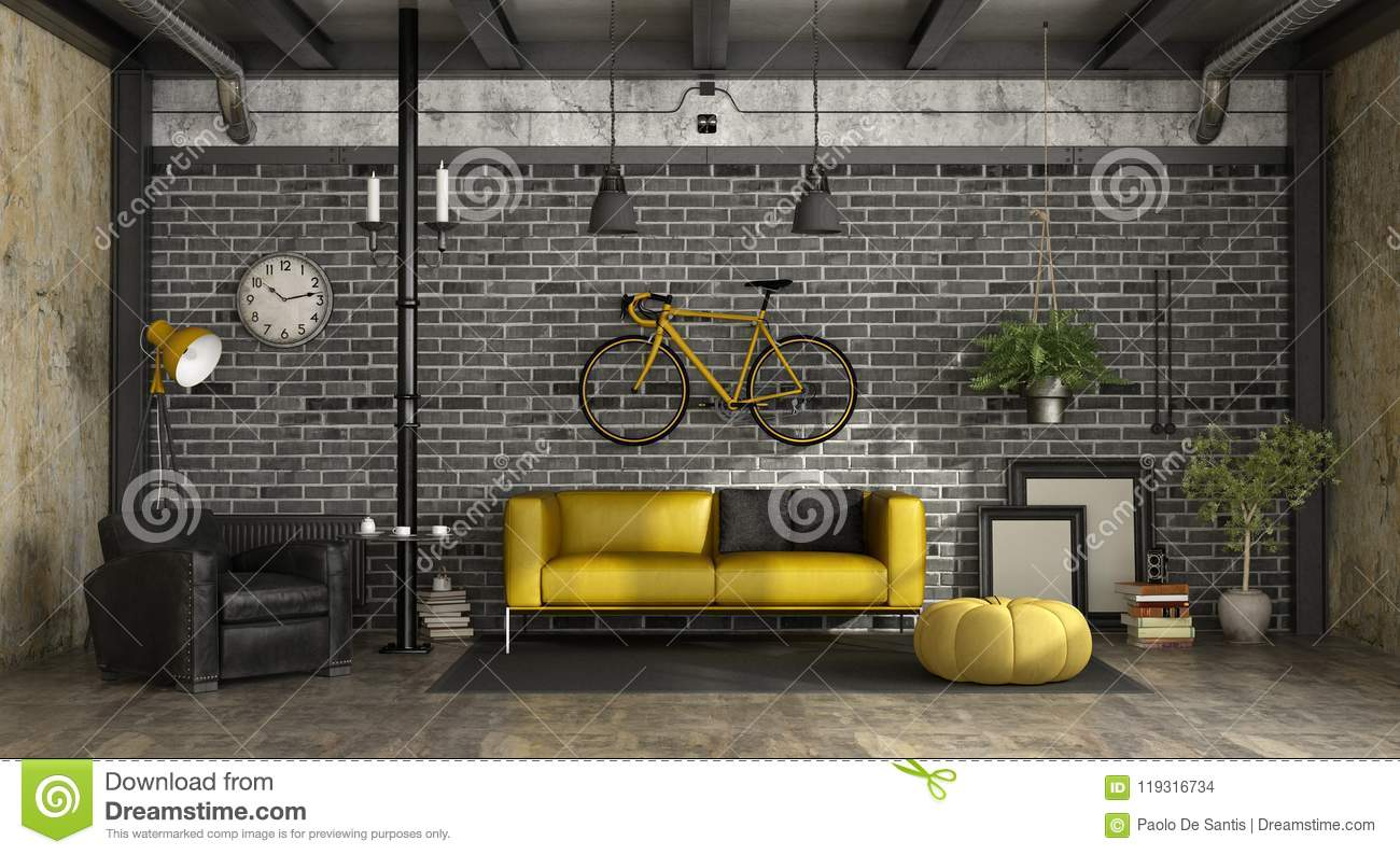 Download Black And Yellow Living Room In A Loft Stock Illustration    Illustration Of Nobody,