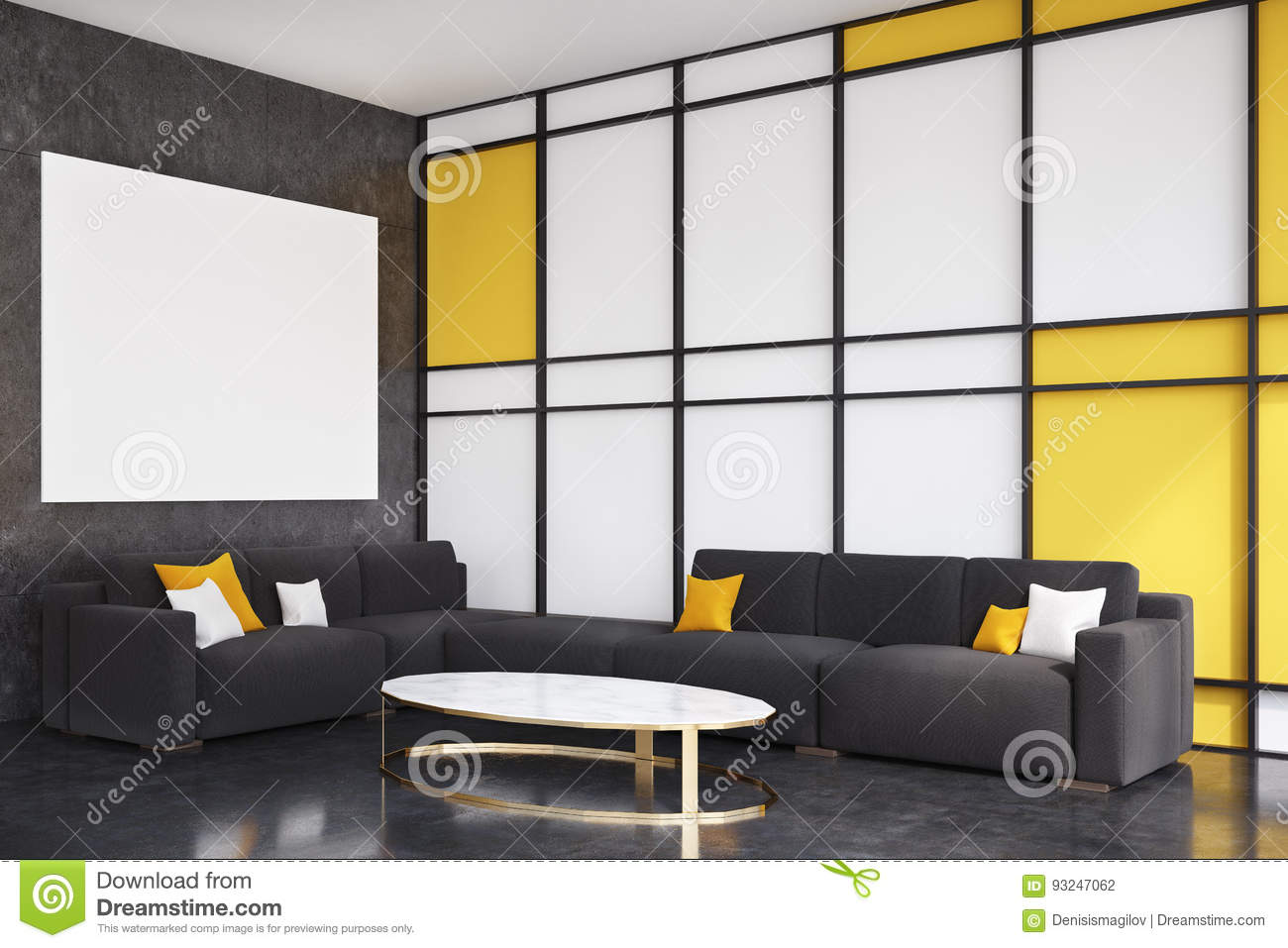 Black And Yellow Living Room, Side View Stock Illustration ...