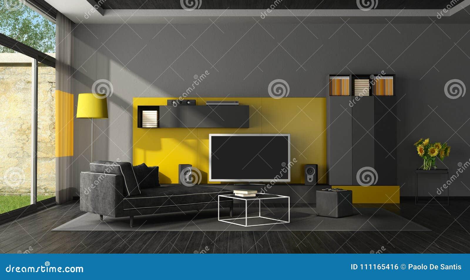 Black And Yellow Living Room With Tv Set Stock Illustration Illustration Of Cinema Light 111165416
