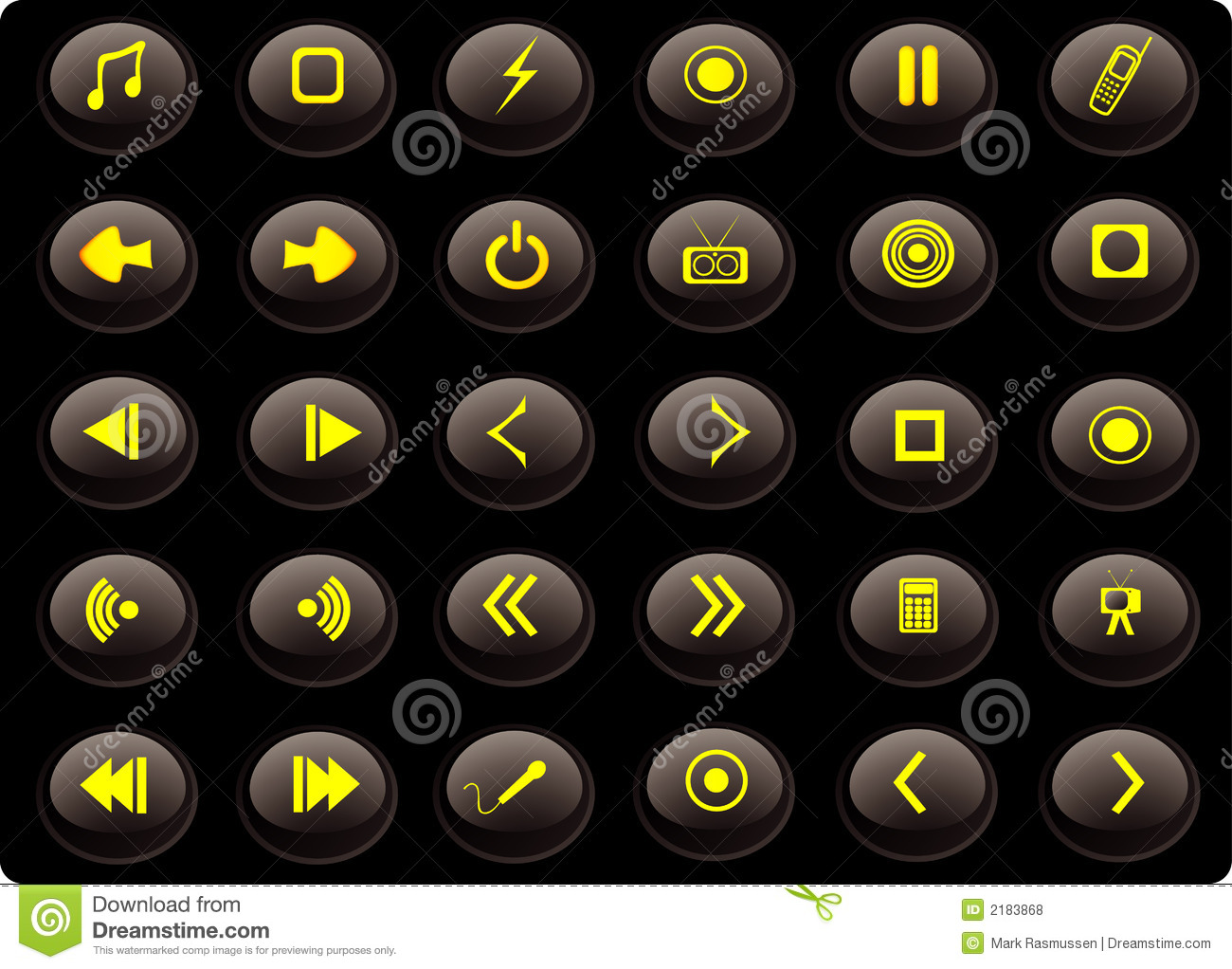 Black And Yellow Media Buttons Stock Vector Illustration Of Arrows