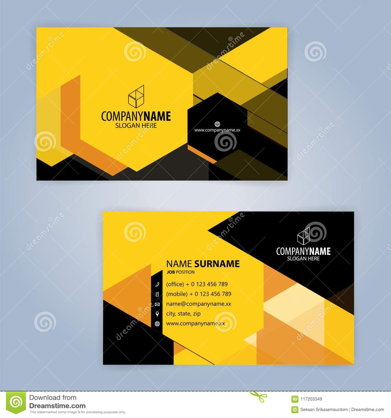 Black And Yellow Modern Business Card Template Stock Vector ...