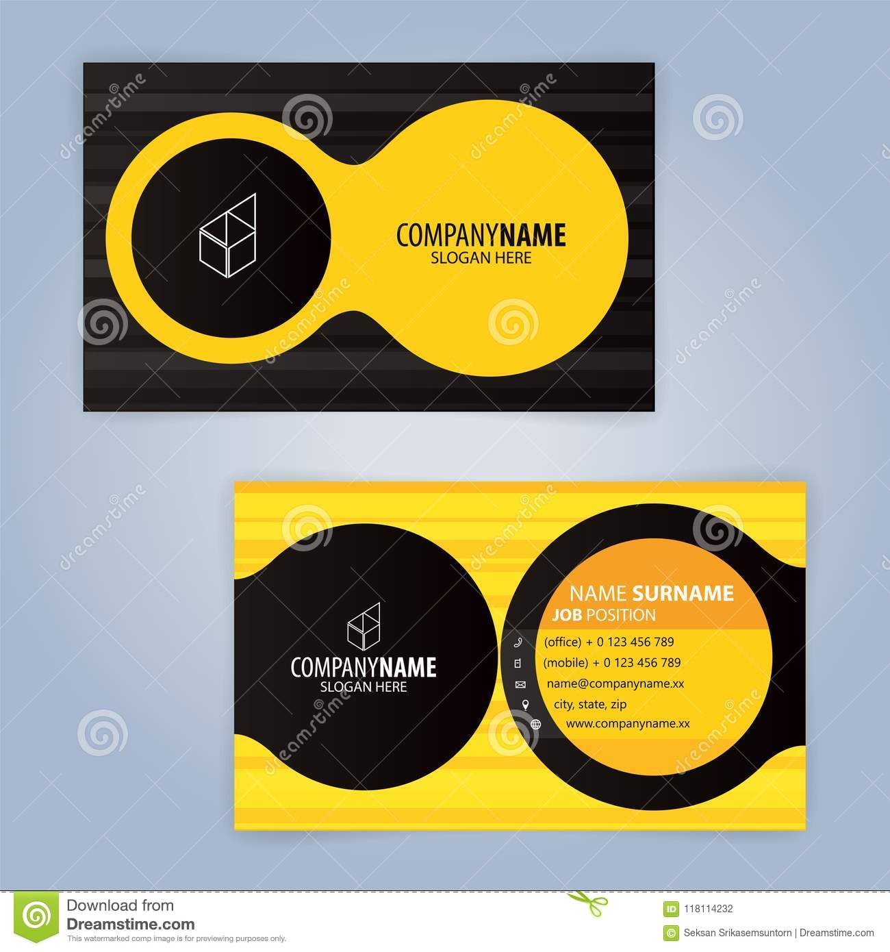 15 Black And Yellow Modern Business Card Template Stock Vector ...
