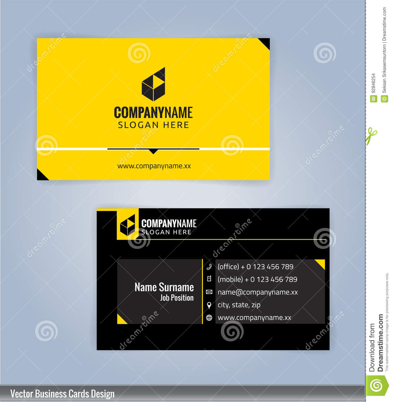 Black And Yellow Modern Creative And Clean Business Card Design ...