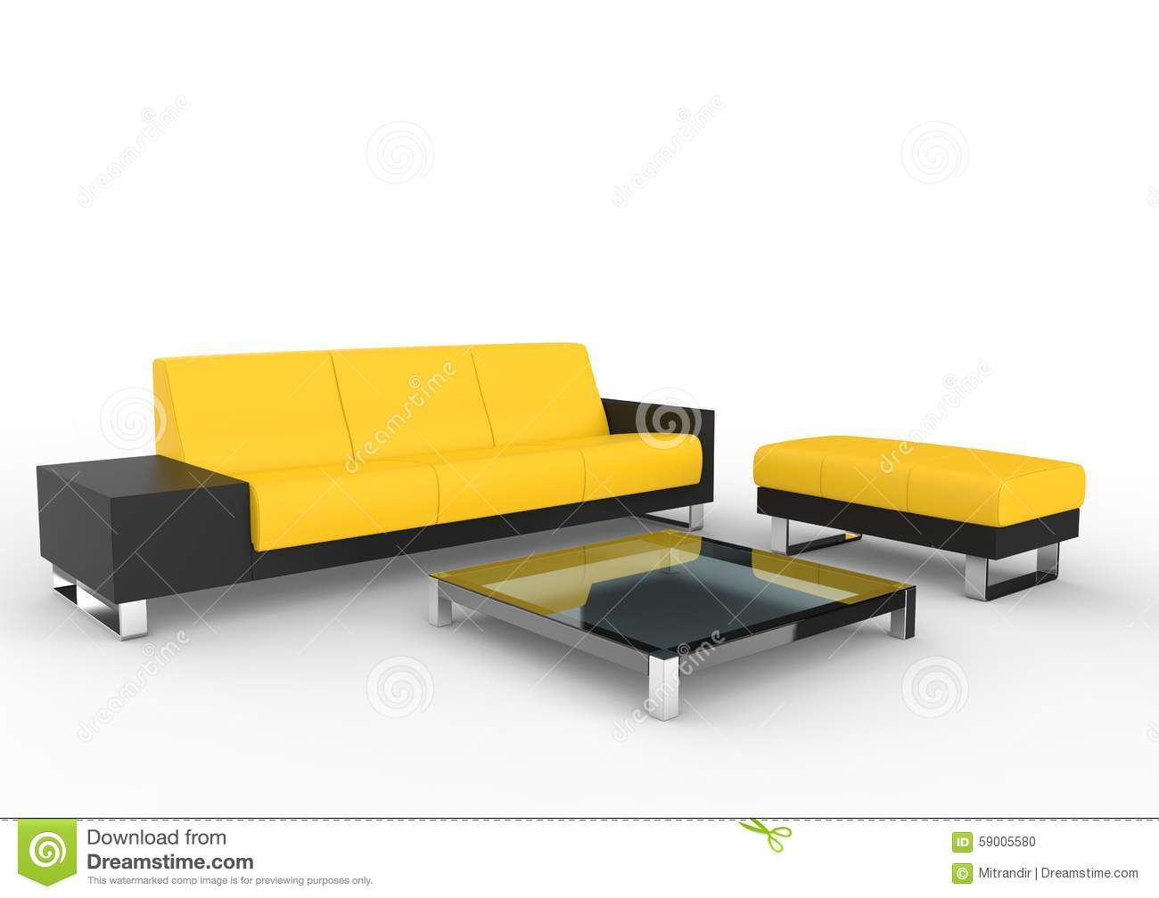 Black and yellow modern sofa and coffee table stock for Sofa table yellow