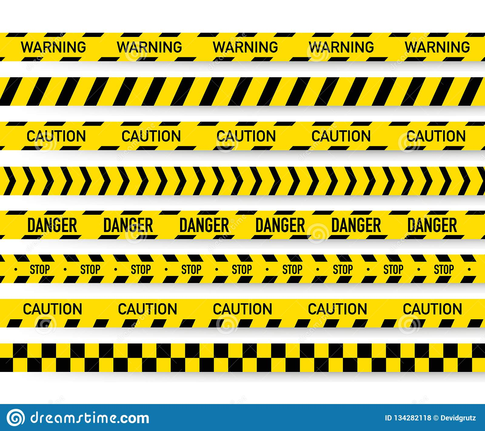 Black And Yellow Police Stripe  Vector Illustration Stock