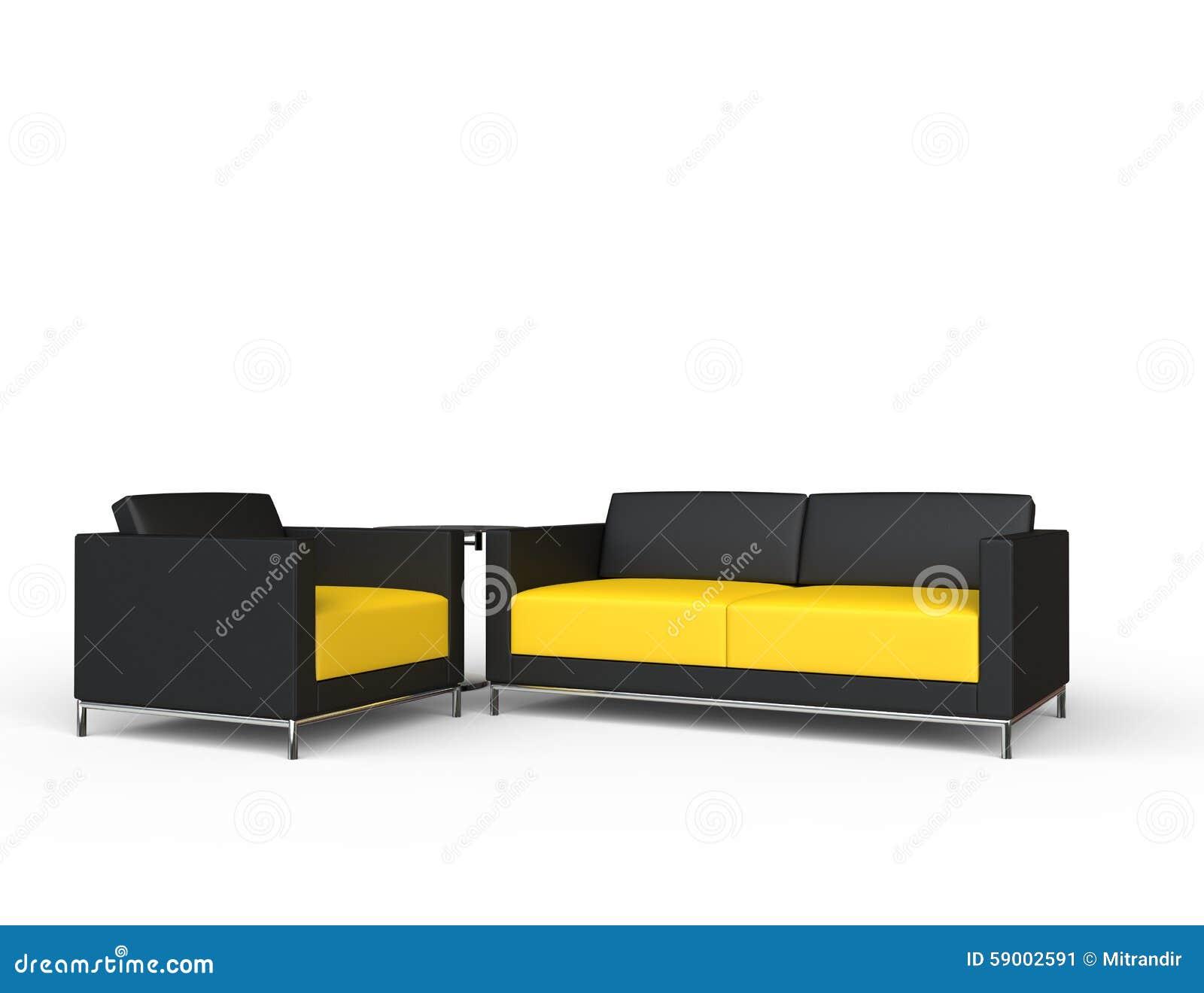 Black And Yellow Sofa And Armchair Set Stock Illustration