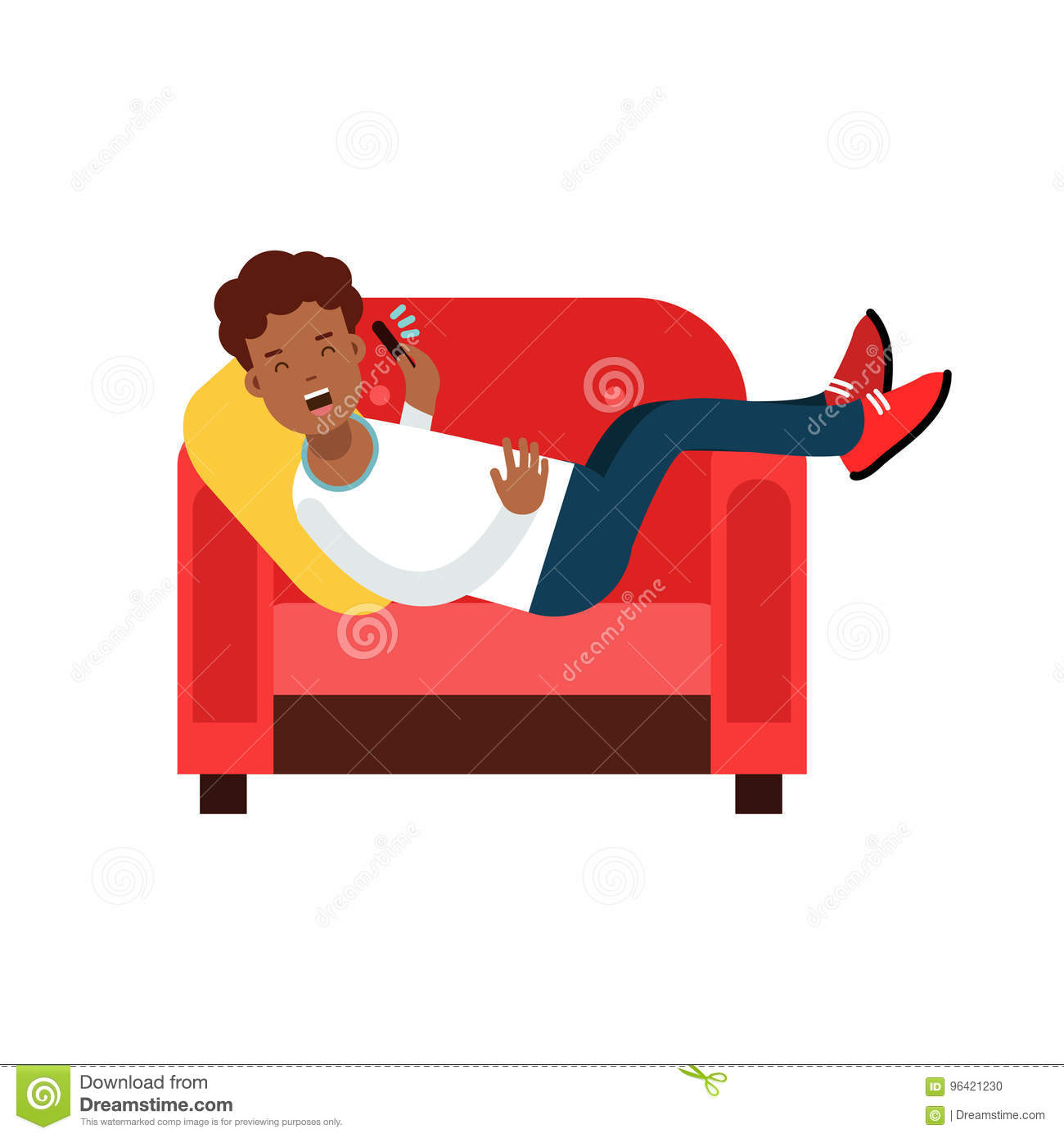 Marvelous Black Young Man Lying On A Red Armchair And Talking On Ocoug Best Dining Table And Chair Ideas Images Ocougorg