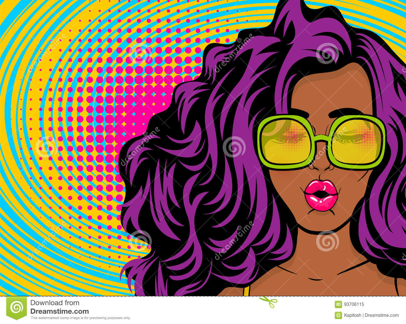 Black Young Swag Woman Pop Art Style Stock Vector