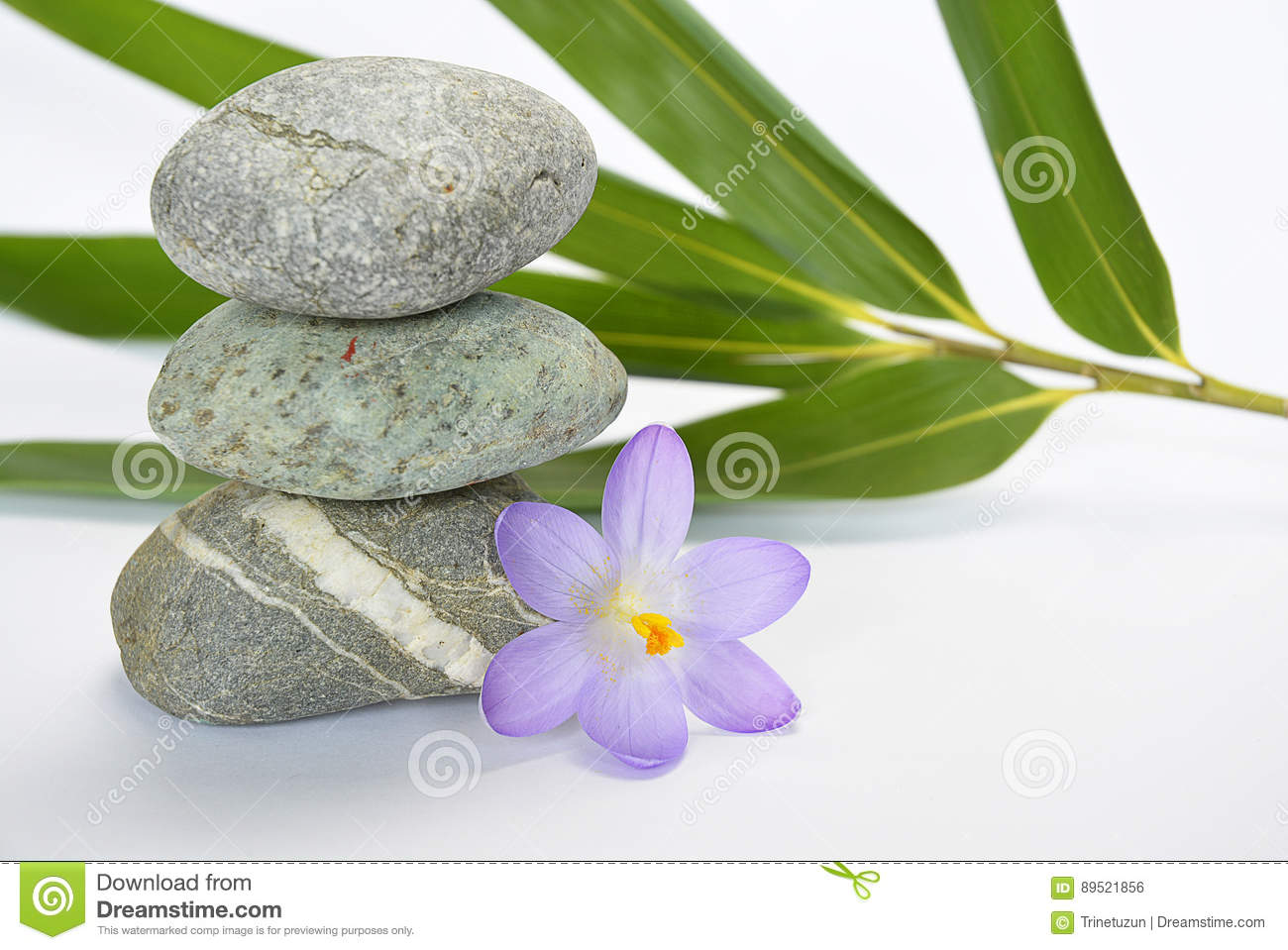Black zen stones with bamboo en crocus on empty white background
