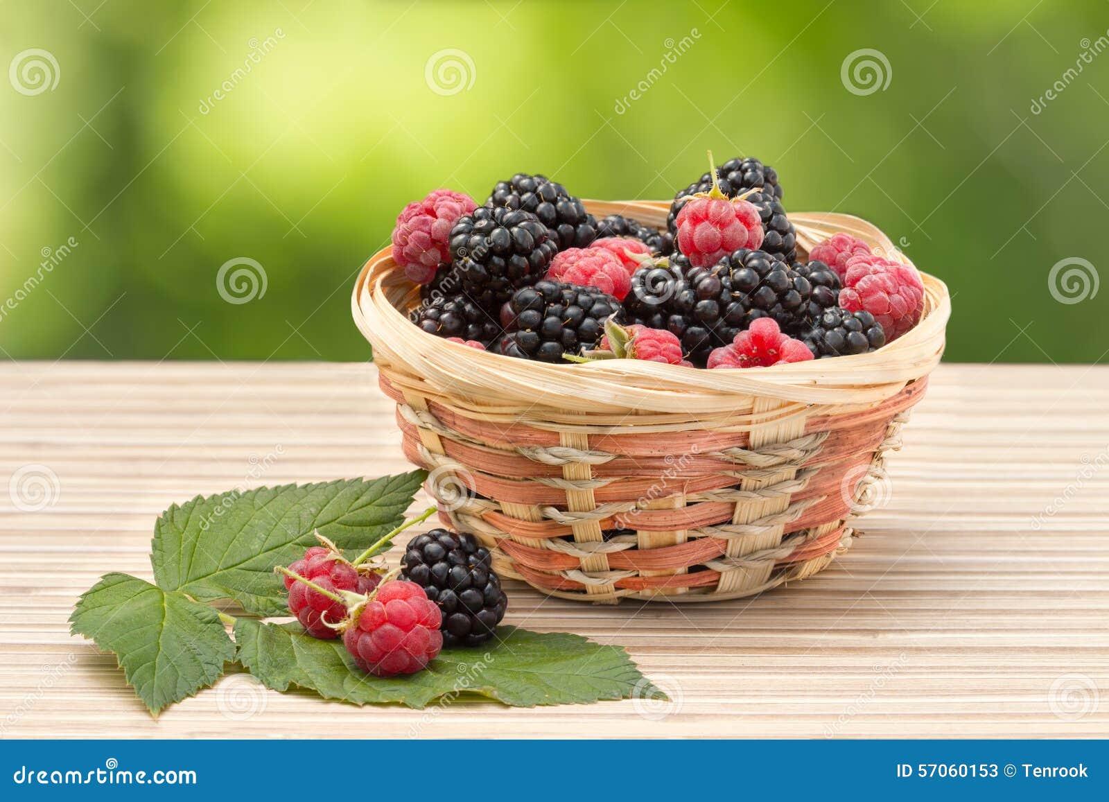 Blackberry en framboos in rieten mand op een achtergrond van gebladerte