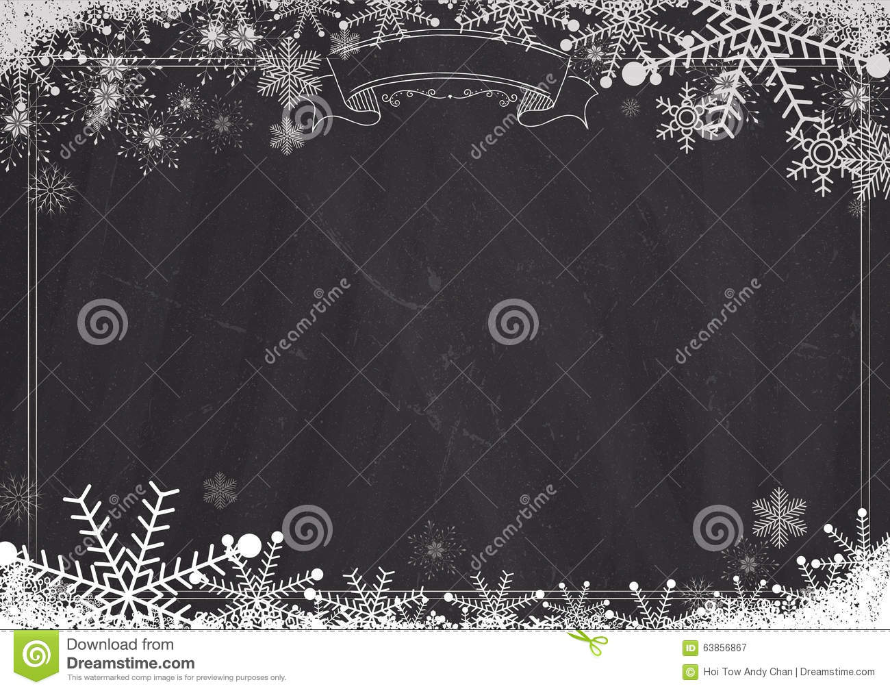 Blackboard Background With Border Snowflake And Snow Stock