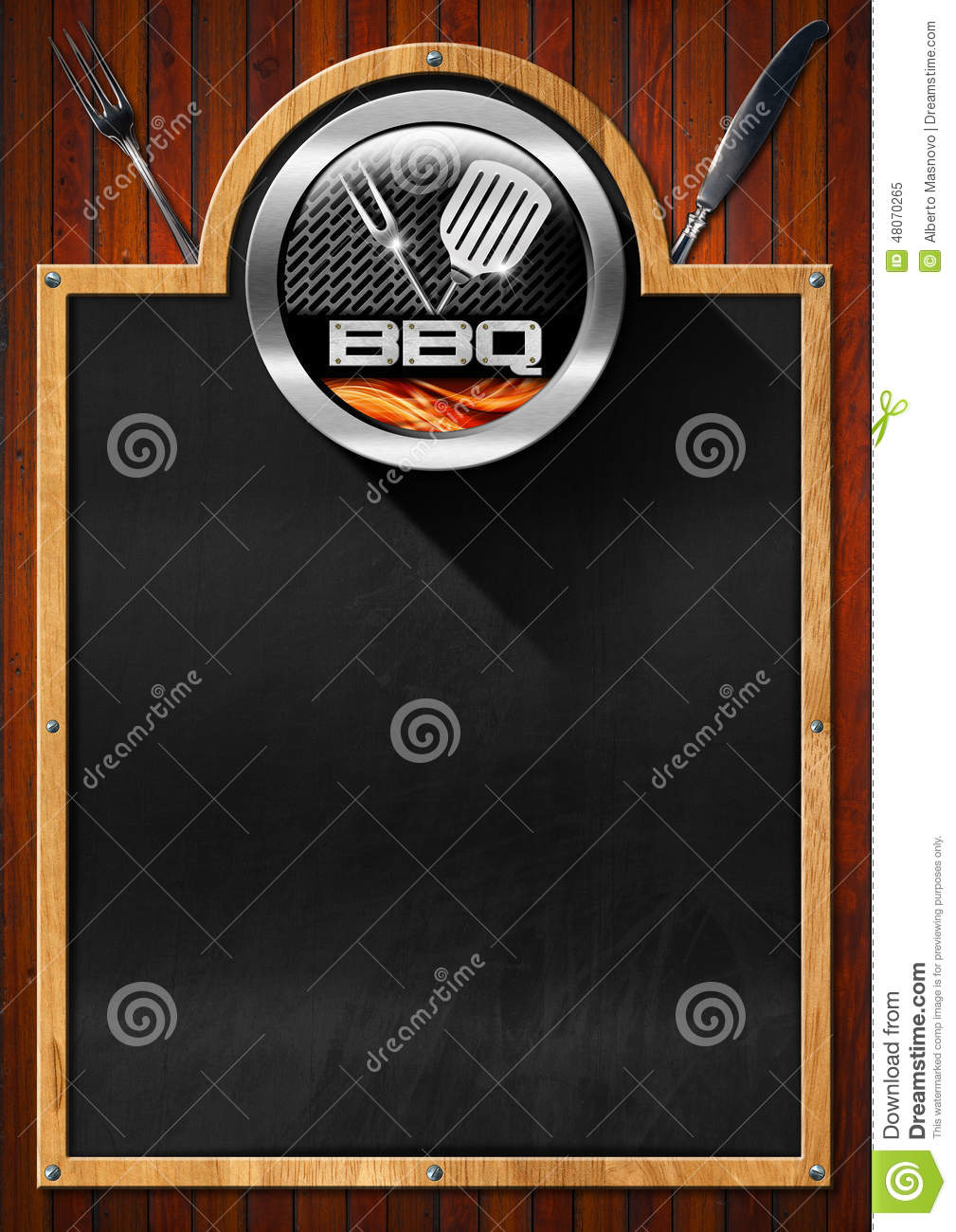 Blackboard For Barbecue Menu Stock Illustration Image
