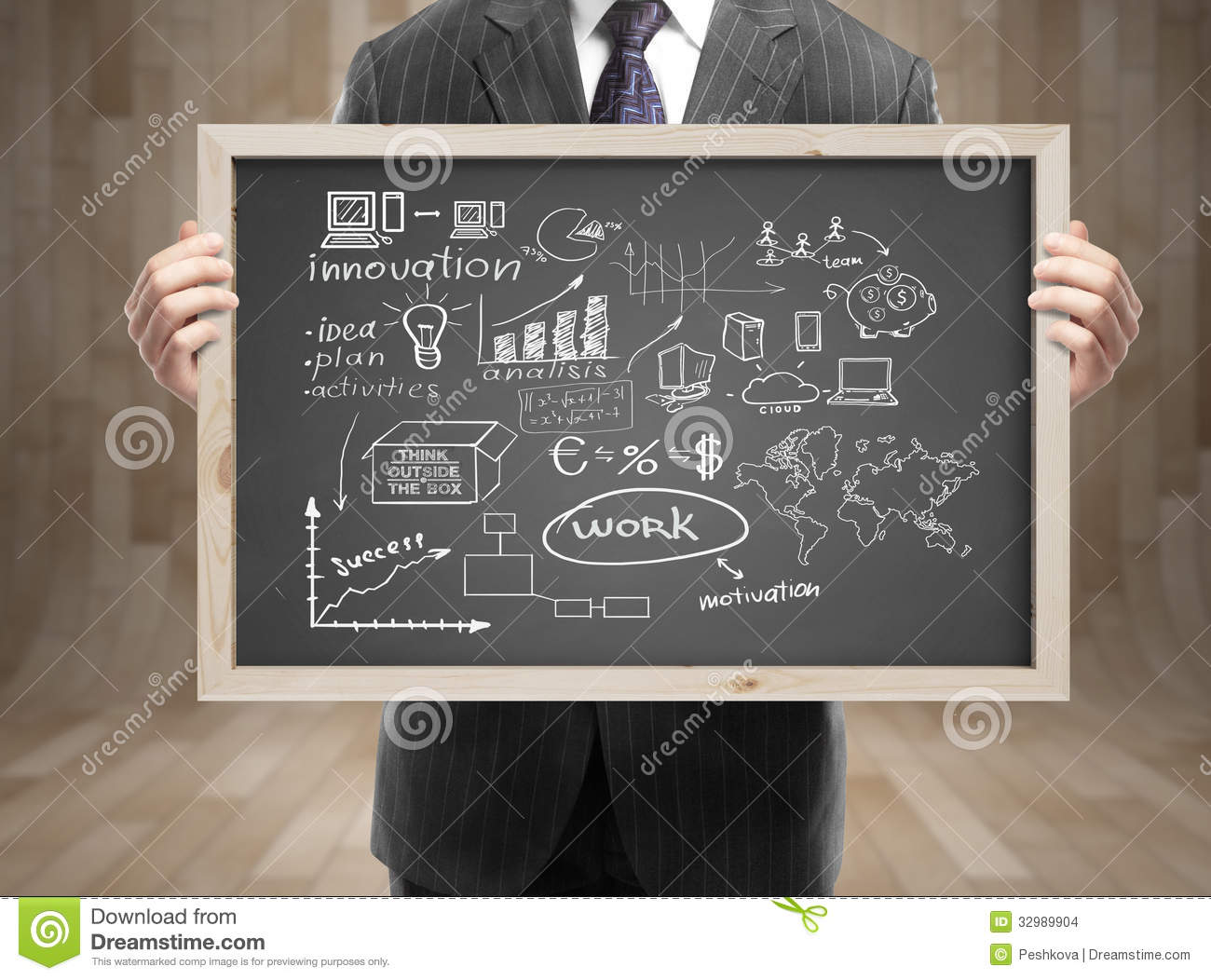 Blackboard With Business Strategy Stock Photo Image Of