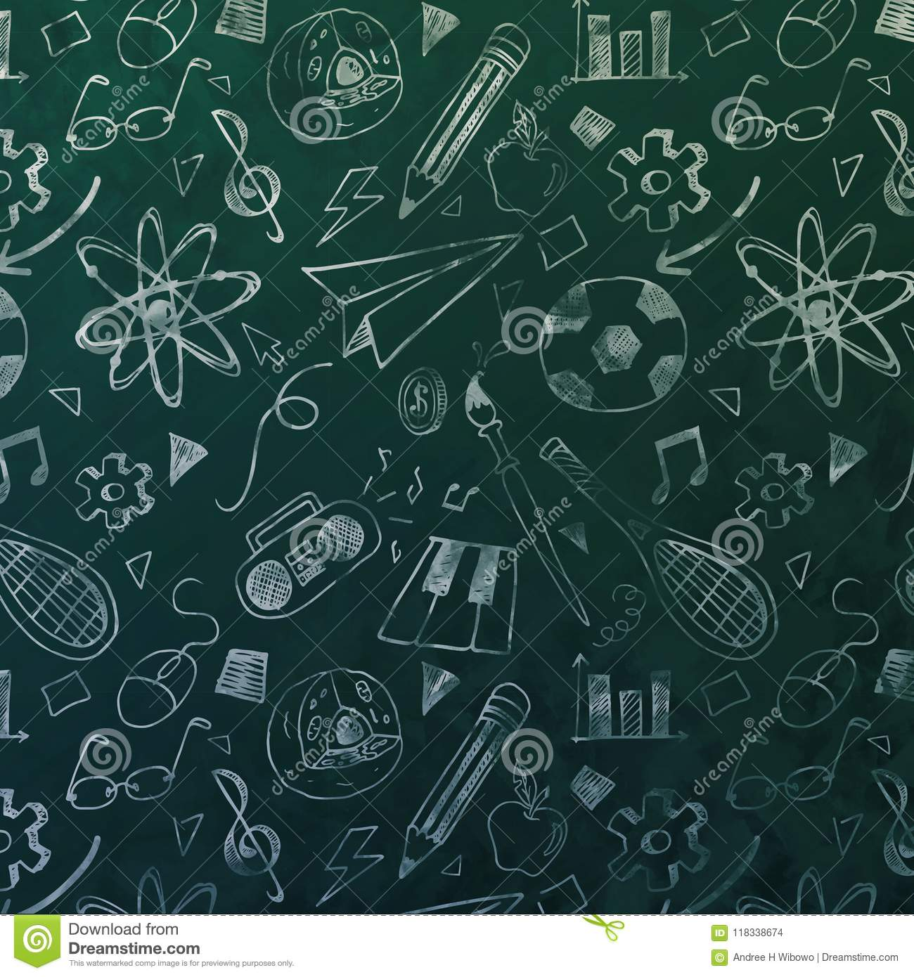 Blackboard with Chalk Drawing Patterns