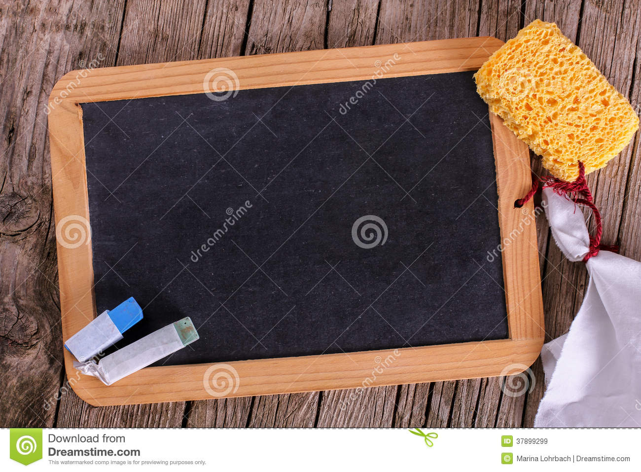 blackboard with sponge and chalk royalty free stock photo 48813531. Black Bedroom Furniture Sets. Home Design Ideas