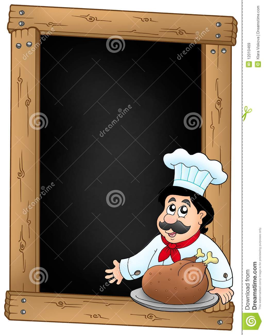 Blackboard And Chef With Meal Royalty Free Stock Images