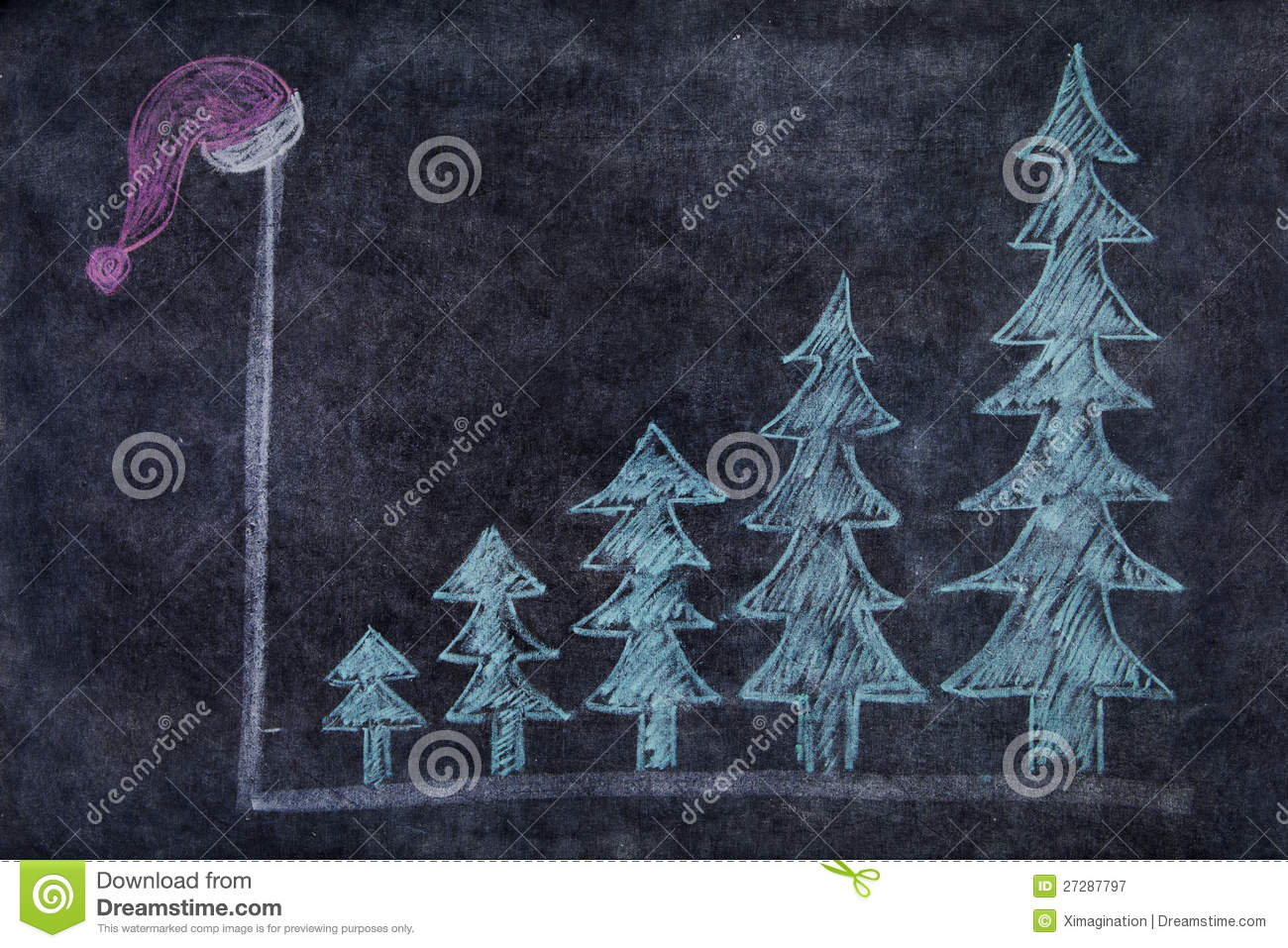 Blackboard with Christmas trees and santa hat