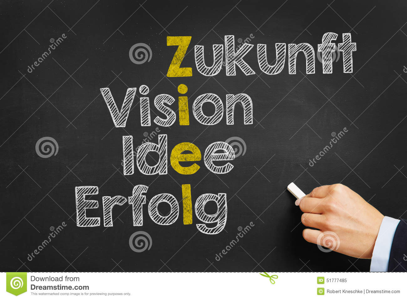 Blackboard with concept in German for goal