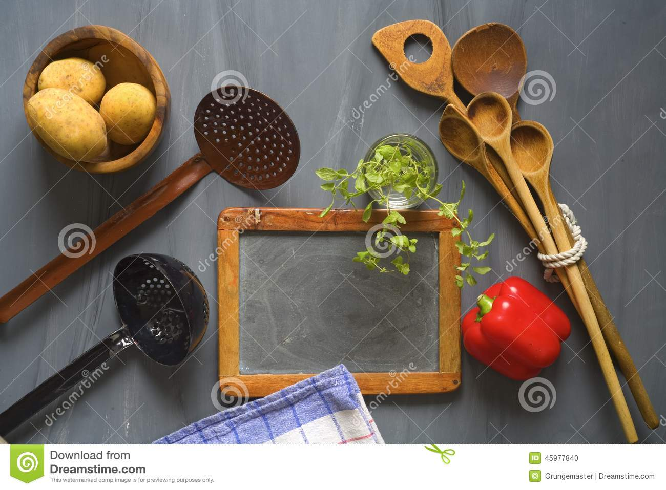 Blackboard For Cooking Recipes, Stock Photo - Image of notebook
